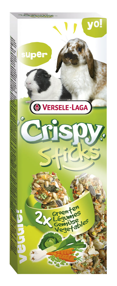 Палочки для кроликов и морских свинок Versele-Laga Crispy, с овощами, 2 х 55 г падован лакомства палочки овощные для кроликов и морских свинок padovan stix flakes 100 г