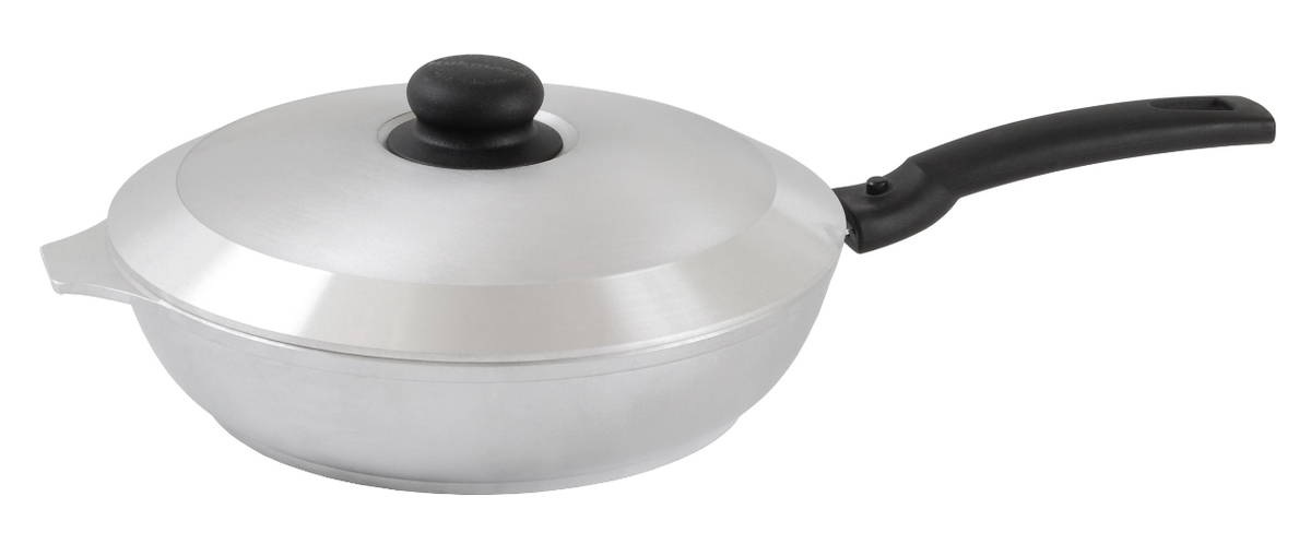 Сковорода Kukmara с крышкой, со съемной ручкой. Диаметр 26 смс264Сковорода Kukmara изготовлена из литого алюминия. Она идеально подходит для жарки мяса, запекания, тушения овощей, еда в такой посуде не пригорает, а томится как в русской печи. Толстостенная сковорода обеспечивает быстрое и равномерное распределение тепла по всей поверхности. Сковорода экологически безопасная и не подвергается деформации. Изделие оснащено крышкой и съемной пластиковой ручкой.Такая сковорода понравится как любителю, так и профессионалу. Сковорода подходит для газовых и электрических плит. Диаметр сковороды по верхнему краю: 26 см. Высота стенки: 6 см.