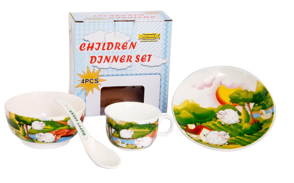 Rosenberg Набор детской посуды 879663807000163Набор детской посуды Rosenberg, 4 предмета:1 пиала - диаметр 11,5 см; высота 5,5 см,1 плоская тарелка - 15,5 см, высота 2 см,1 кружка - 180 мл,1 ложка - длина 13,3 смМатериал: керамика