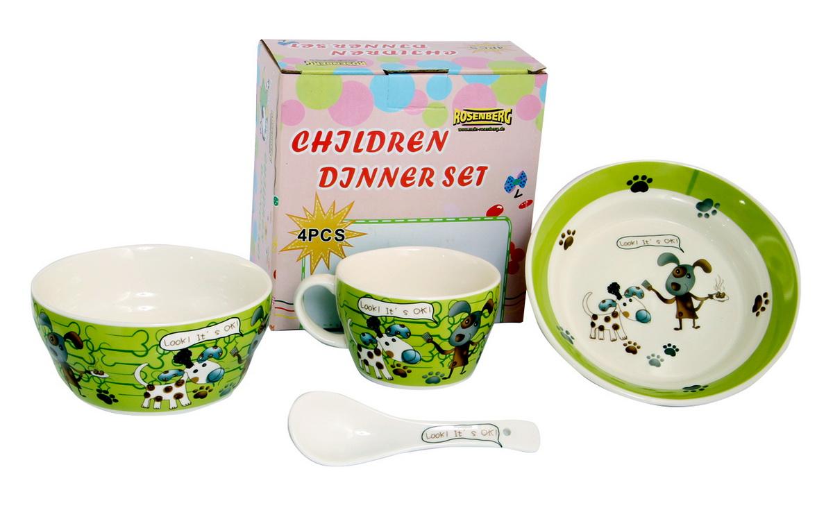 Rosenberg Набор детской посуды 879653807000162Набор детской посуды Rosenberg, 4 предмета:1 глубокая тарелка d=15 см,1 плоская тарелка d=18 см,1 кружка 250 мл,1 ложка 14 смМатериал: керамика