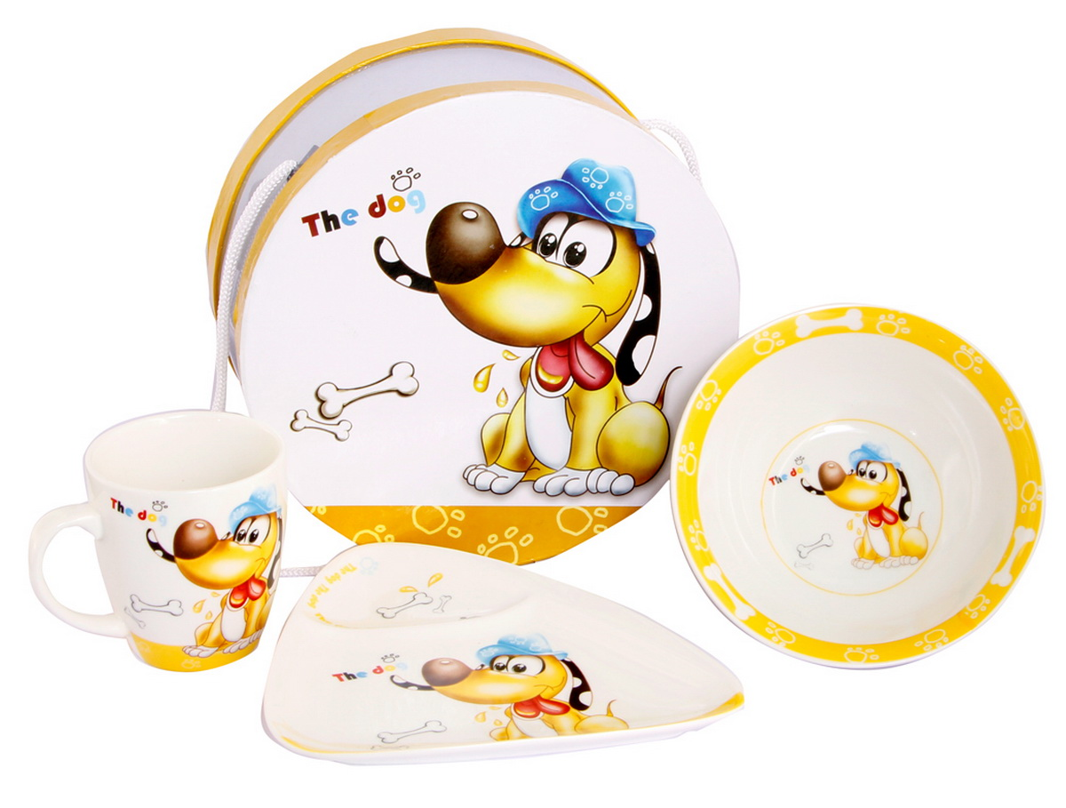 Rosenberg Набор детской посуды Собачка с косточкой8777Набор детской посуды Rosenberg Собачка с косточкой привлечет внимание вашего ребенка и не позволит ему скучать. Набор выполнен из керамики и включает в себя чашку, супницу и тарелку. Посуда оформлена высококачественным изображением забавной собачки в шляпе, сидящей рядом с косточками. Ваш малыш с удовольствием будет кушать из этой посуды, а милый жизнерадостный образ подарит ему хорошее настроение. Порадуйте своего ребенка таким замечательным подарком!Допускается использование в микроволновой печи и мытье в посудомоечной машине.Набор упакован в подарочную коробку.Размеры тарелки: 16,5 см х 17 см х 2 см. Размеры супницы: 15,5 см х 15,5 см х 5 см. Размеры чашки: 10 см х 7,5 см х 8 см.