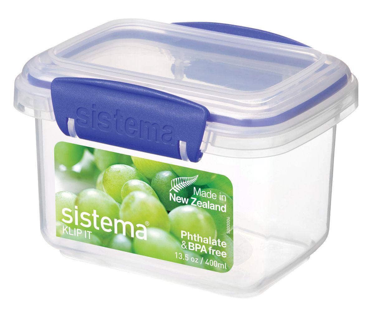 Контейнер Sistema Klip It, 400 мл1540Контейнер Klip It предназначен для хранения различных продуктов. Крышка с силиконовой прокладкой герметично закрывается, что помогает дольше сохранить полезные свойства продуктов. Контейнер надежно закрывается клипсами, которые при необходимости можно заменить. Можно мыть в посудомоечной машине.