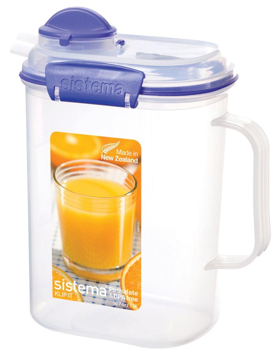 Кувшин для сока Sistema Klip It, 1,5 л1415Кувшин Klip It предназначен для хранения напитков. Крышка с силиконовой прокладкой герметично закрывается. Можно мыть в посудомоечной машине.