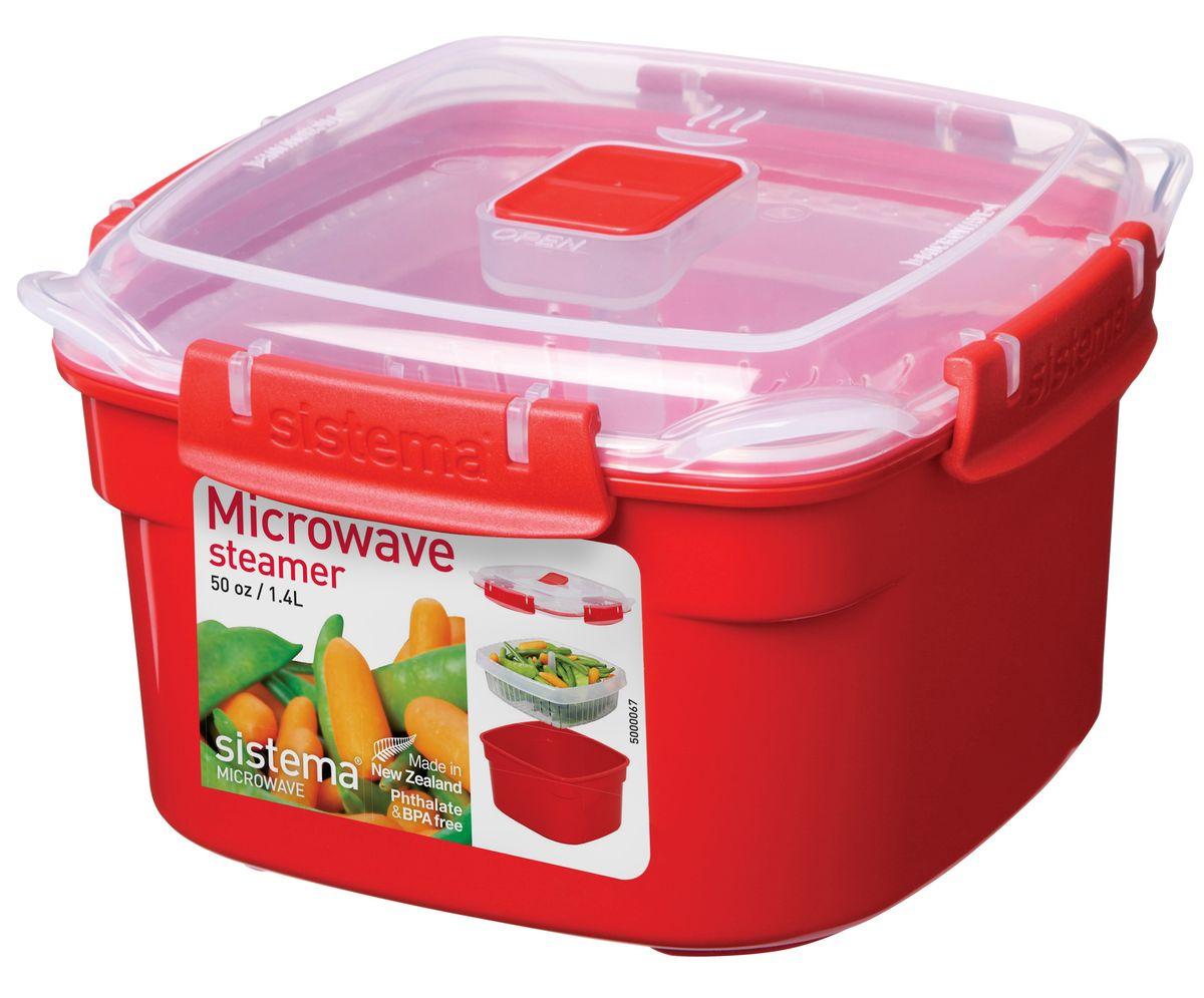 Контейнер Sistema Microwave, 1,4 л1101В контейнере Microwave вы с легкостью сможете не только разогреть пищу в СВЧ, но и приготовить ее. Просто налейте воды в базовый контейнер, поместите пищу в пластиковый дуршлаг, откройте на крышке клапан пароотвода и поместите все в микроволновую печь. Через несколько минут вы можете насладиться полезной пищей. Контейнер надежно закрывается клипсами, которые при необходимости можно заменить. Крышка с силиконовой прокладкой герметично закрывается, что помогает дольше сохранить полезные свойства продуктов.Можно мыть в посудомоечной машине.