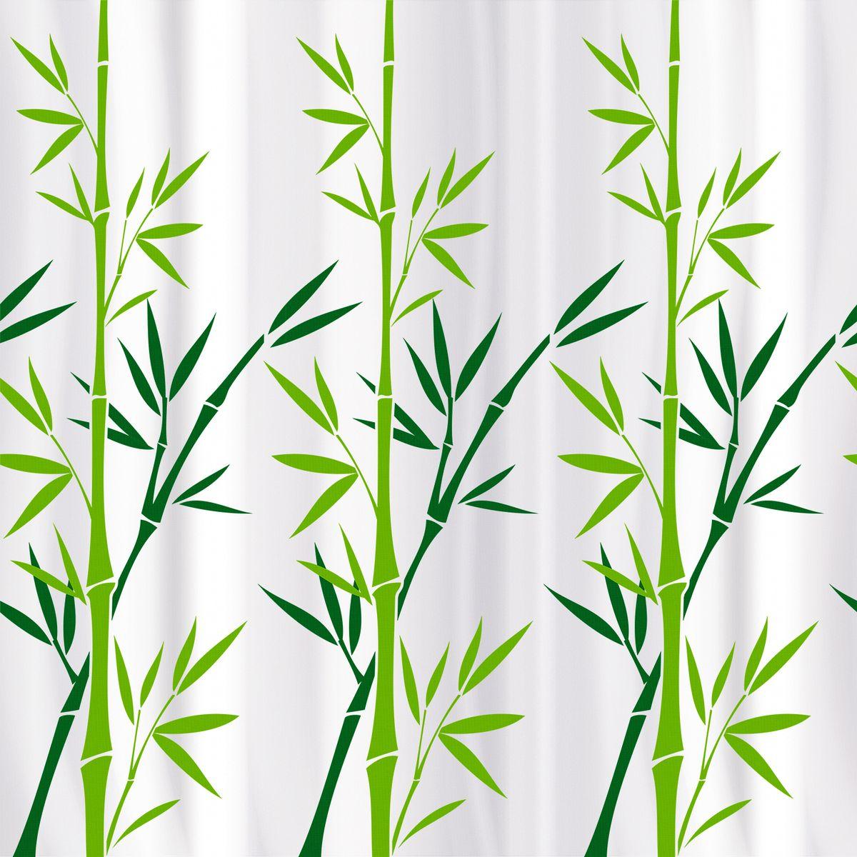 Штора для ванной Tatkraft Bamboo Green Textile, цвет: белый, зеленый, 180 х 180 см tatkraft mega lock