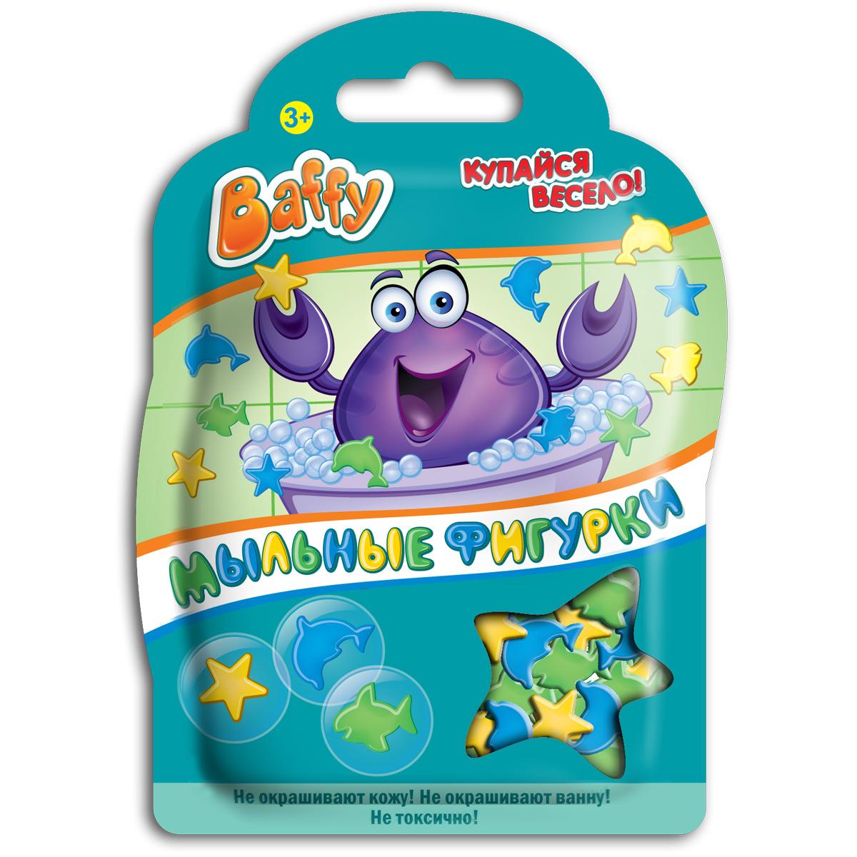 Baffy Мыльные фигурки цвет зеленый синий желтый12298Мыльные фигурки Baffy превратят купание в ванне в интересную, увлекательную игру. Фигурки можно клеить на детскую кожу, украшать стенку ванны, а также высыпать в воду и играть с ними.Фигурки хорошо мылятся и не окрашивают кожу и ванну.Безопасны для кожи ребенка. Вес: 8 гр.