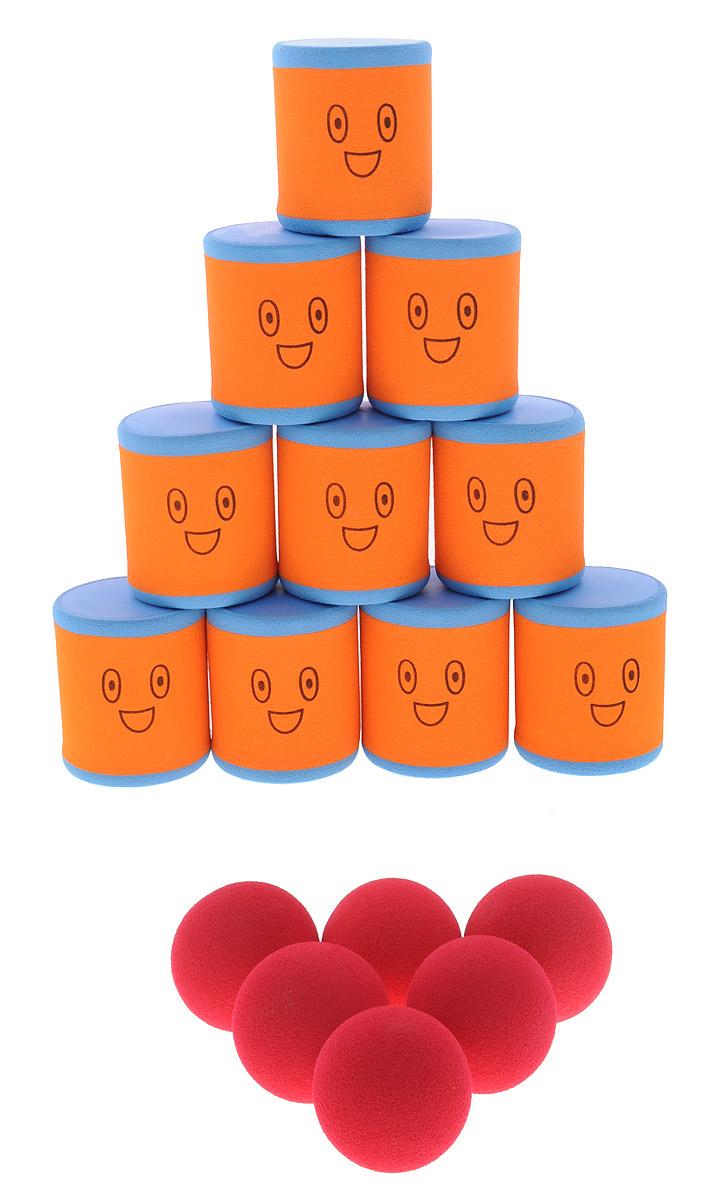 Safsof Игровой набор Городки цвет оранжевый голубой красный