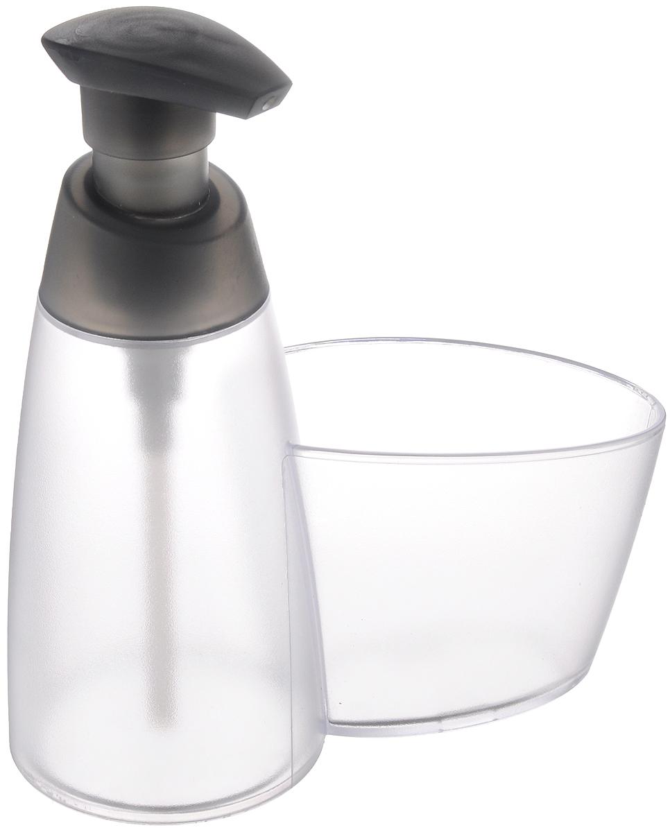 Дозатор для моющего средства Tescoma Clean Kit, с подставкой для губки, цвет: прозрачный, серый, 350 мл дозатор для моющего средства rosenberg 7487