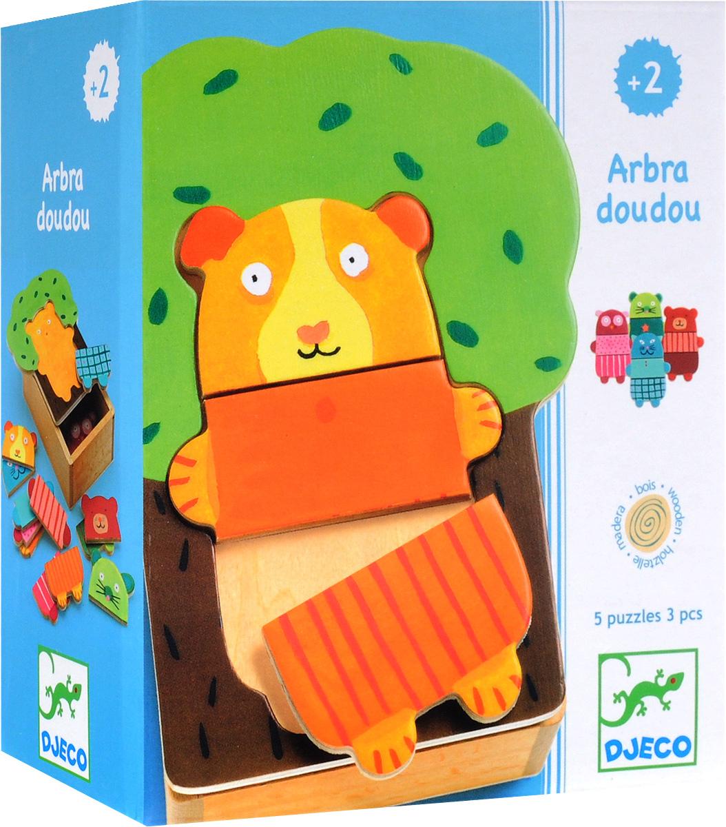 Djeco Пазл для малышей Деревянные зверюшки август пазл для малышей рыбка цвет основы красный