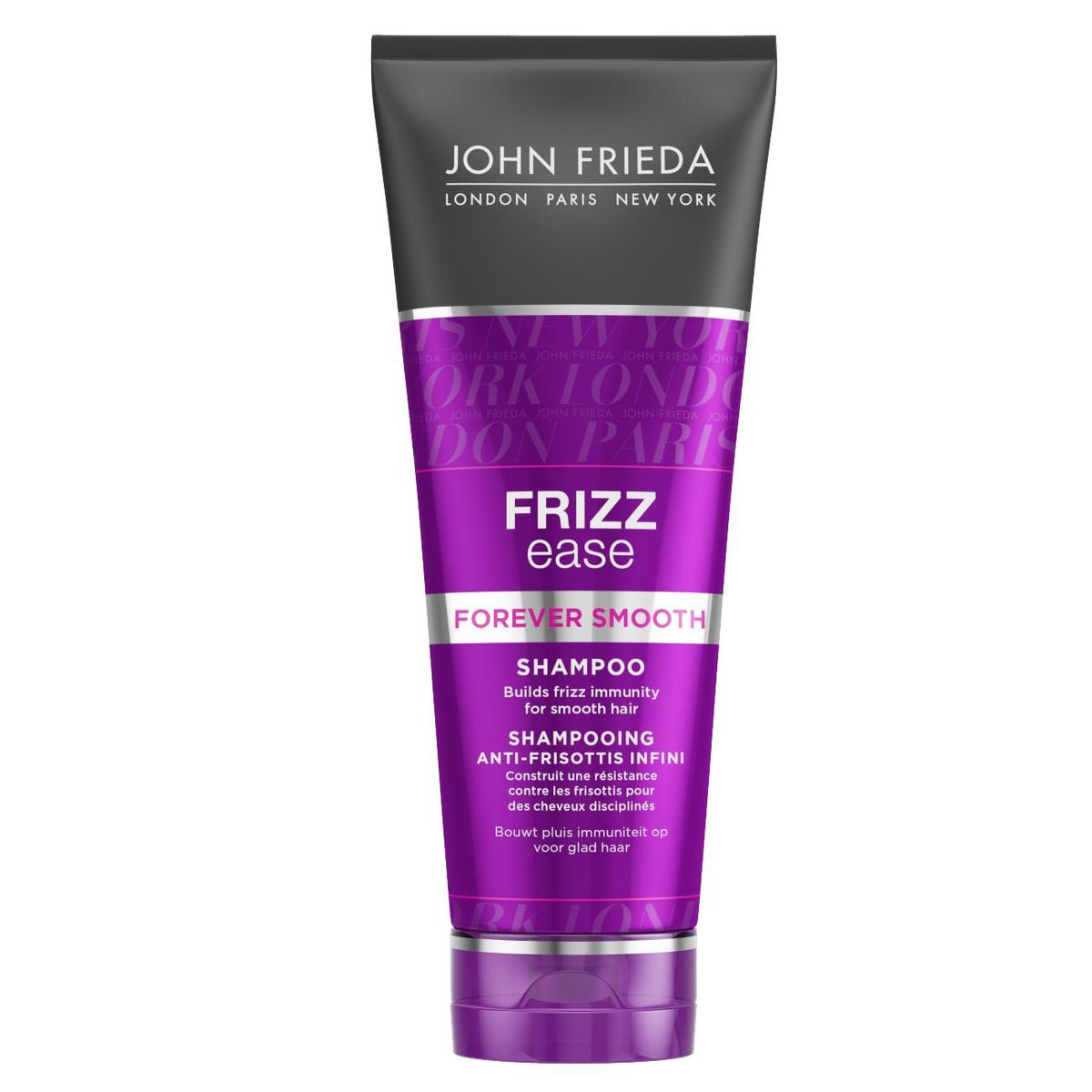John Frieda Шампунь для гладкости волос длительного действия против влажности Frizz Ease FOREVER SMOOTH 250 млjf113110Формирует иммунитет волос от курчавости и воздействия влажности для продолжительной гладкости. Волосы приобретают иммунитет от курчавости для создания их гладкости. Шампунь FOREVER SMOOTH c инновационным Frizz Immunity комплексом и 100% натуральным маслом Кокоса, помогает справиться с природной курчавостью, с каждым применением постепенно формирует у волос иммунитет против курчавости.