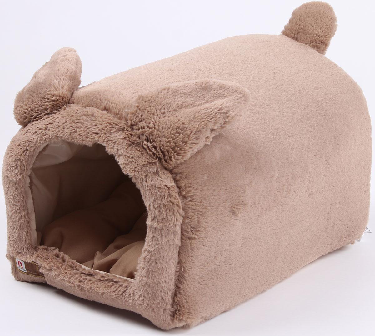 """Домик для собак и кошек Зоогурман """"Taddy Bear"""", цвет: темно-бежевый, 50 х 35 х 30 см"""