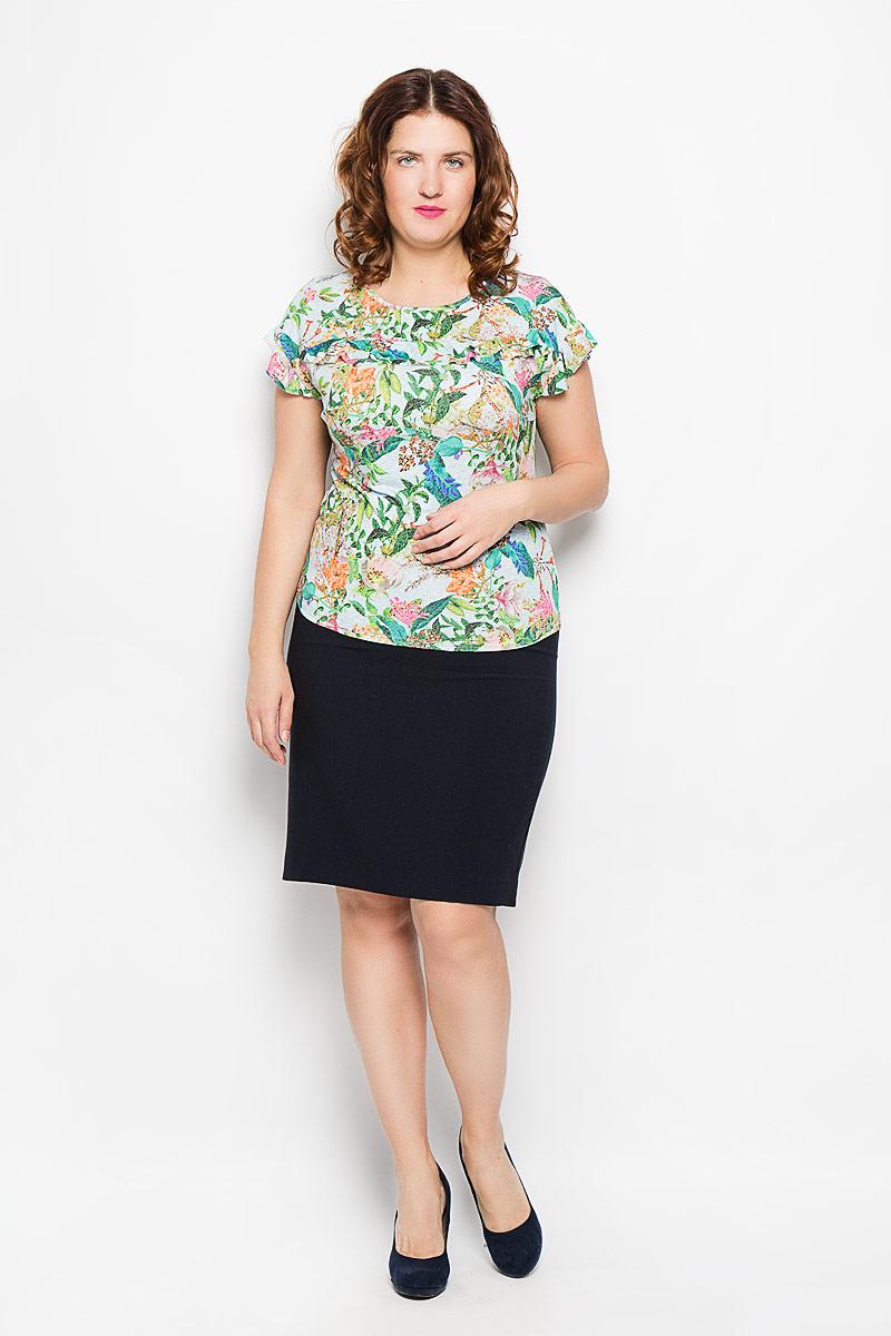 Блуза женская Milana Style, цвет: голубой, зеленый, оранжевый. 751м. Размер 54751мСтильная женская блуза Milana Style, выполненная из полиэстера и вискозы с добавлением лайкры, подчеркнет ваш уникальный стиль и поможет создать оригинальный женственный образ. Модель с рукавами крылышками и круглым вырезом горловины оформлена двойной оборкой. Такая блуза займет достойное место в вашем гардеробе.
