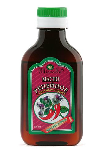 Репейное масло с красным перцем 100мл4650001790309Репейное масло – издавна почиталось на Руси, как надежное средство от выпадения волос и облысения. Масло содержит природный инулин, богатый комплекс витаминов, протеин, жирные кислоты, дубильные вещества и минеральные соли. Перец красный (жгучий) усиливает микроциркуляцию крови, способствуя быстрой доставке полезных компонентов репейника непосредственно к волосяным луковицам. - Усиливает кровообращение вокруг волосяных луковиц;- укрепляет корни волос;- стимулирует рост волос;- насыщает корни волос витаминами;- останавливает выпадение волос.