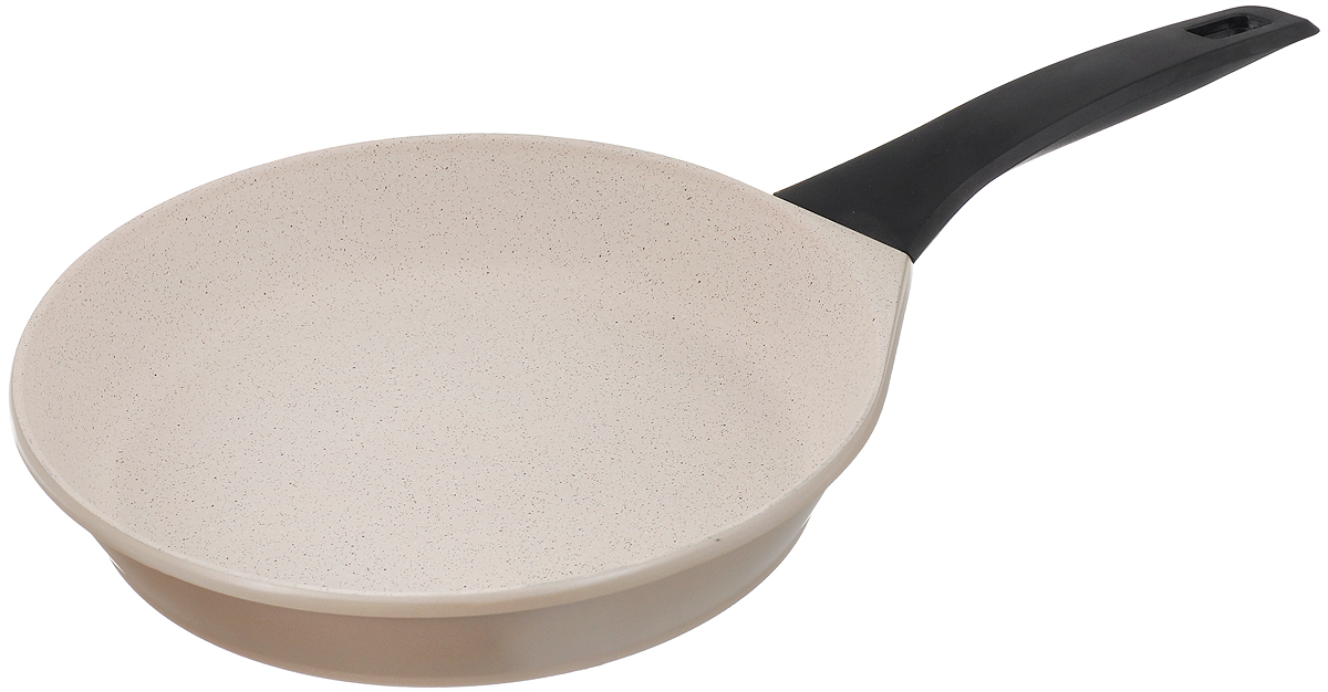 Сковорода Polaris Stone, с антипригарным покрытием. Диаметр 28 см005999Сковорода Polaris Stone изготовлена из высококачественного литого алюминия. Внутреннее трехслойное немецкое антипригарное покрытие Greblon C3 на водной основе обеспечивает непревзойденную стойкость к царапинам. Специальное утолщенное дно позволяет посуде быстро и равномерно нагреваться. При готовке можно использовать металлические кухонные аксессуары. Сковорода оснащена эргономичной не нагревающейся ручкой из бакелита.Подходит для всех типов плит, включая индукционные. Можно мыть в посудомоечной машине.Диаметр сковороды: 28 см. Высота стенки: 5,5 см. Длина ручки: 19 см.Диаметр индукционного диска: 21,5 см.