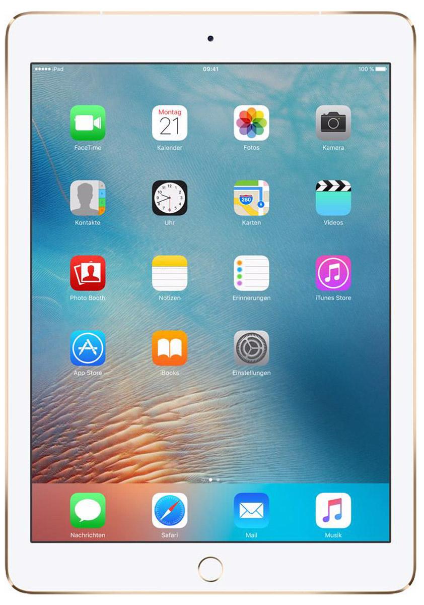 Apple iPad Pro 9,7 Wi-Fi + Cellular 32GB, GoldMLPY2RU/AiPad Pro с дисплеем диагональю 9,7 дюйма весит менее 500 граммов и оснащен новым профессиональным дисплеем Retina с более высокой яркостью, расширенной цветовой палитрой и сниженным уровнем бликов. В новом iPad Pro также используется режим Night Shift и технология дисплея True Tone, позволяющая значительно улучшить регулировку баланса белого.Для невероятной производительности в устройстве установлен процессор A9X с 64-битной архитектурой, который превосходит по мощности большинство портативных компьютеров. Аудиосистема с четырьмя динамиками стала в два раза мощнее. Новая 12-мегапиксельная камера iSight позволяет снимать Live Photos и видео 4K. iPad Pro также оснащён 5-мегапиксельной HD-камерой FaceTime и поддерживает более быстрые беспроводные технологии. Кроме того, устройство совместимо с уникальным Apple Pencil и новой клавиатурой Smart Keyboard, созданной специально для iPad Pro с дисплеем 9,7 дюйма.В 9,7-дюймовом дисплее нового iPad Pro использованы передовые технологии, в том числе технология True Tone, которая позволяет с помощью четырёхканальных датчиков регулировать баланс белого на экране с учётом внешнего освещения, что обеспечивает более точную и естественную цветопередачу и комфорт для глаз. Усовершенствованный дисплей Retina стал на 25% ярче, а уровень отражения снизился на 40% по сравнению с iPad Air 2, поэтому изображение на экране можно легко рассмотреть как при искусственном, так и при естественном свете. На iPad Pro используется та же расширенная цветовая палитра, что и на iMac с дисплеем Retina 5K, а насыщенность цвета увеличилась на 25%. Специальный контроллер синхронизации, фотовыравнивание и оксидный тонкоплёночный транзистор обеспечивают невероятную точность при передаче цветов, а также высокую контрастность и чёткость изображения. Режим Night Shift в iOS 9.3 использует часы iPad Pro и службу геолокации, чтобы автоматически изменять цвета дисплея на более тёплые после наступления темноты,