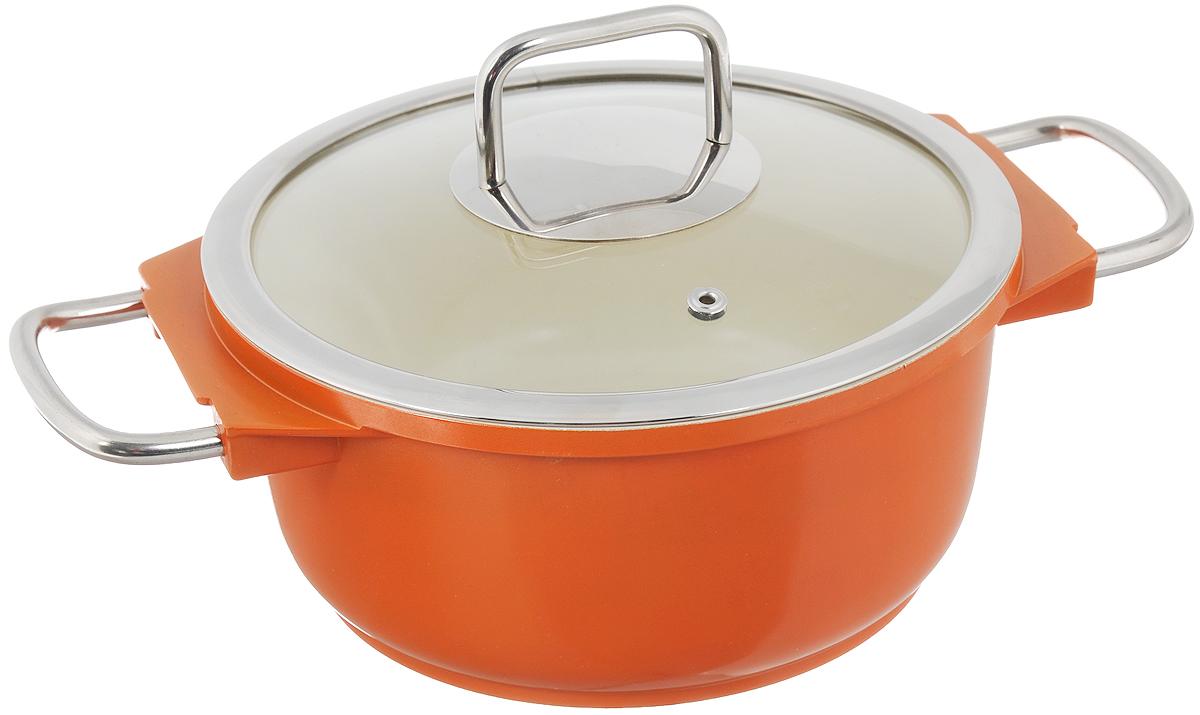 Кастрюля Mayer & Boch с крышкой, с керамическим покрытием, цвет: оранжевый, 2,5 л21236_оранжевыйКастрюля Mayer & Boch изготовлена из высококачественного алюминия с керамическим покрытием. Керамика не содержит вредной примеси ПФОК, поэтому является экологически чистой и безопасной для здоровья. Кроме того, с таким покрытием пища не пригорает и не прилипает к стенкам, поэтому можно готовить с минимальным добавлением масла и жиров. Гладкая поверхность легко чистится - ее можно мыть в воде руками или вытирать полотенцем. Кастрюля эффективно сохраняет тепло и быстро разогревает продукты. Энергосберегающая технология позволяет готовить быстрее, с меньшими затратами энергии. Кастрюля оснащена металлическими ручками, что делает процесс эксплуатации более удобным и комфортным. Крышка из термостойкого стекла снабжена металлическим ободом, удобной металлической ручкой и отверстием для выпуска пара. Такая крышка позволит следить за процессом приготовления пищи без потери тепла. Она плотно прилегает к краям кастрюли, сохраняя аромат блюд. Подходит для использования на всех типах плит, кроме индукционных. Можно мыть в посудомоечной машине.Высота стенки: 9,5 см.Внутренний диаметр по верхнему краю: 20 см.Ширина кастрюли (с учетом ручек): 31 см.