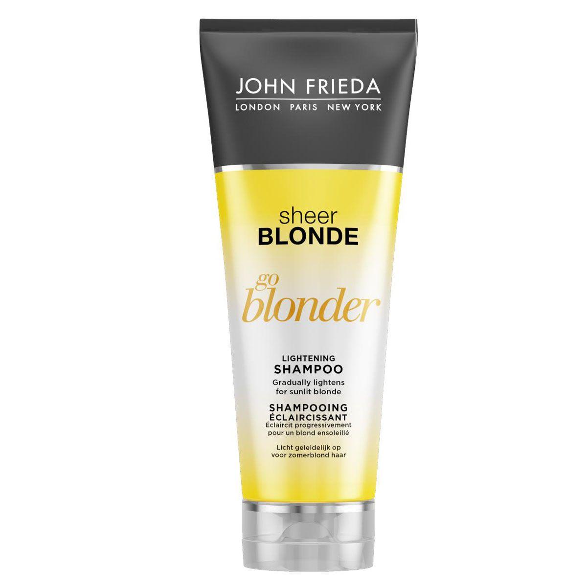 John Frieda Шампунь осветляющий для натуральных, мелированных и окрашенных волос Sheer Blonde Go Blonder 250 млjf211110Постепенно осветляет и создает заметный эффект солнечного поцелуя на светлых волосах. Светлые волосы становятся более яркими и мерцающими, заметный эффект солнечного поцелуя усиливает блеск светлых волос. Осветляющий шампунь Go Blonder возвращает волосам красоту, мягкость и здоровый вид, не пересушивает их.