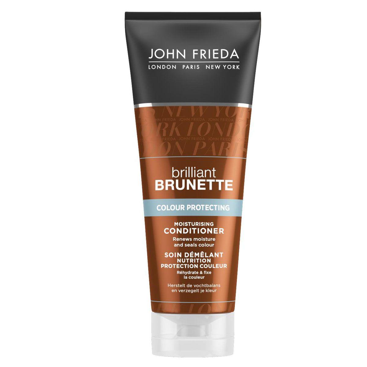 John Frieda Увлажняющий кондиционер для защиты цвета темных волос Brilliant Brunette COLOUR PROTECTING 250 млjf311220Восстанавливает увлажнение и закрепляет цвет. Расстанься с тусклыми, сухими темными волосами. Увлажняющий кондиционер для защиты цвета темных волос увлажняет волосы, сохраняя интенсивность и красоту цвета волос надолго.