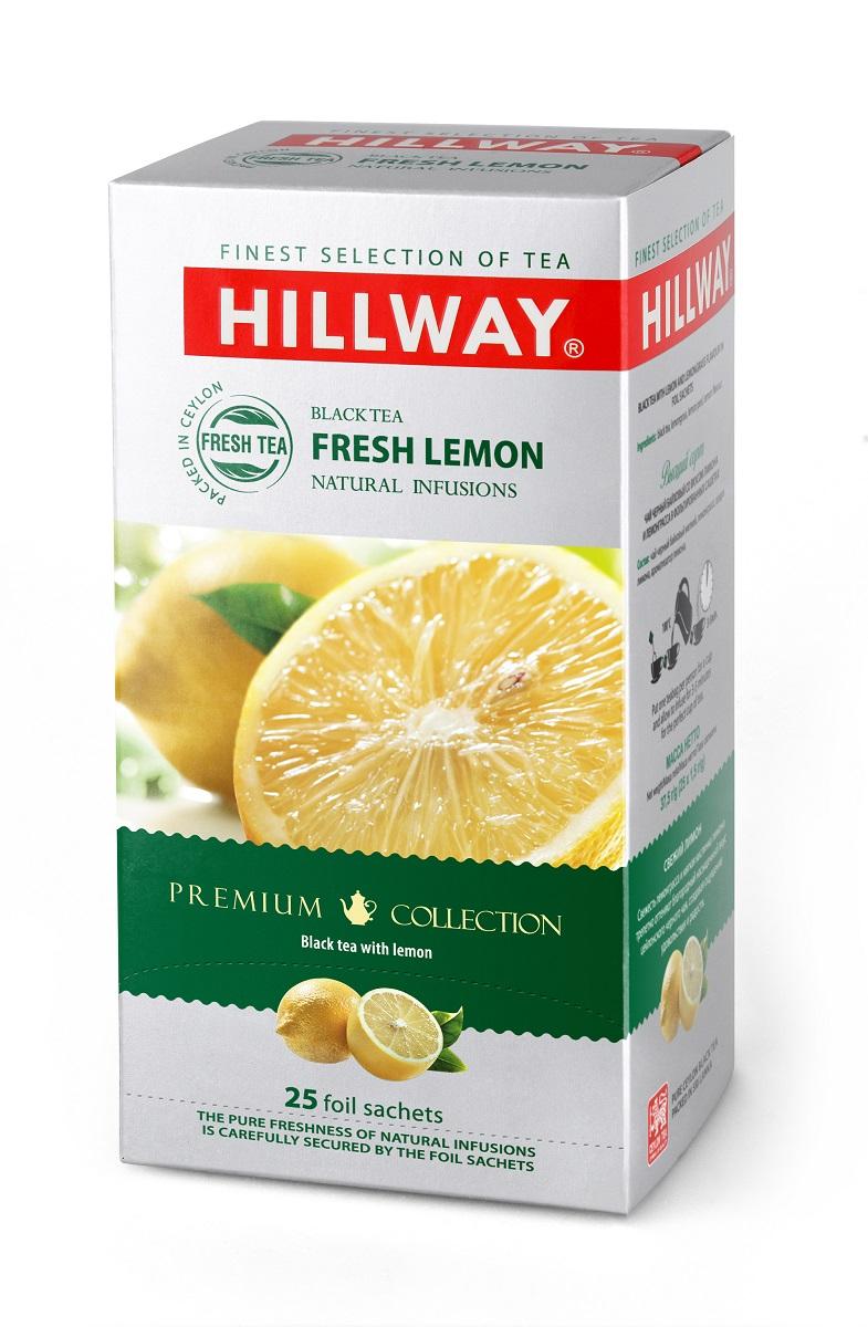 Hillway Fresh Lemon чай с лимоном в сашетах, 25 шт8886300990256Hillway Fresh Lemon - черный чай с лемонграссом и цедрой лимона. Свежесть лемонграсса и мягкая кислинка лимона трепетно оттеняют благородный насыщенный вкус цейлонского черного чая, создавая ощущение удовольствия и радости.