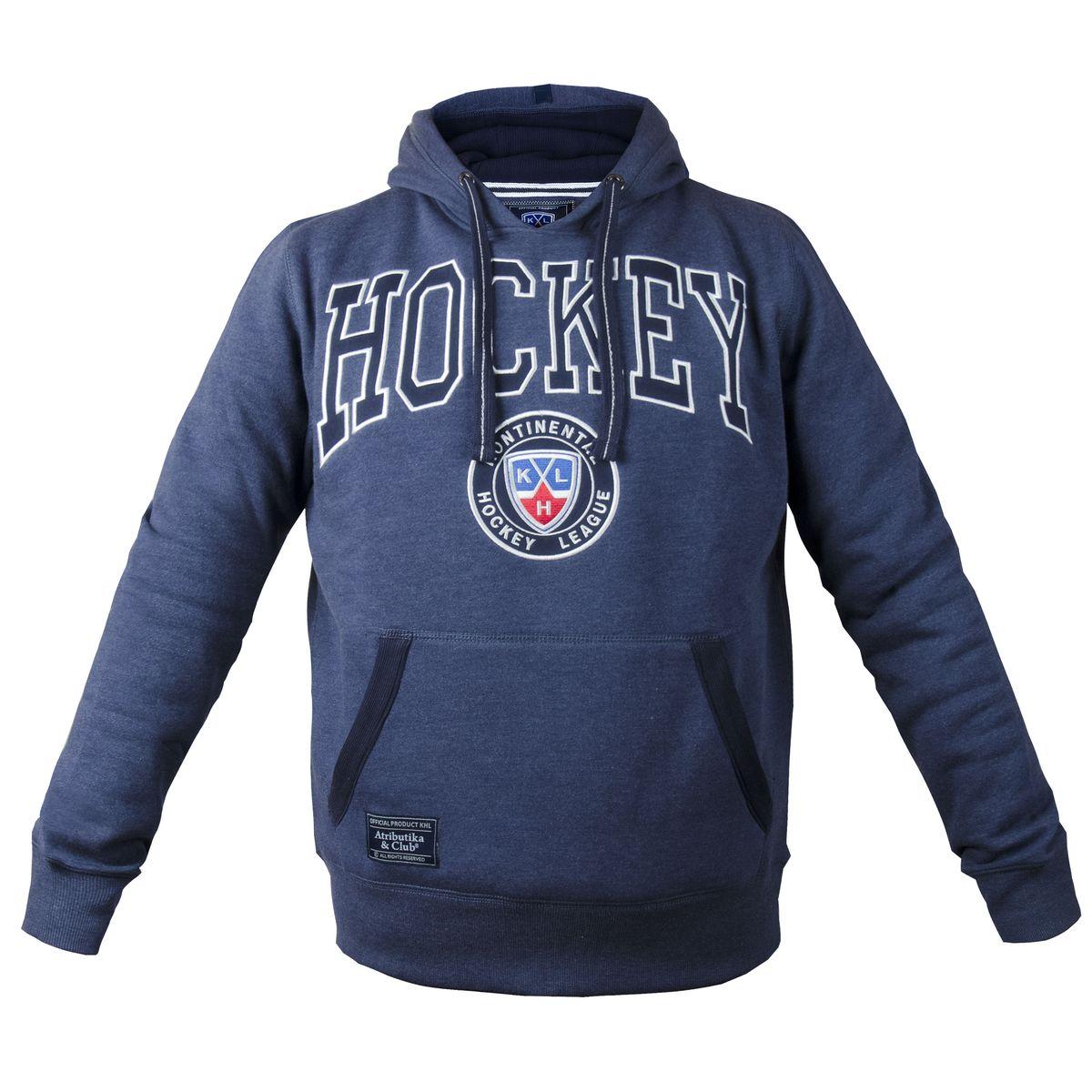 Толстовка мужская КХЛ, цвет: синий меланж. 321020. Размер XXL (56) - Хоккей