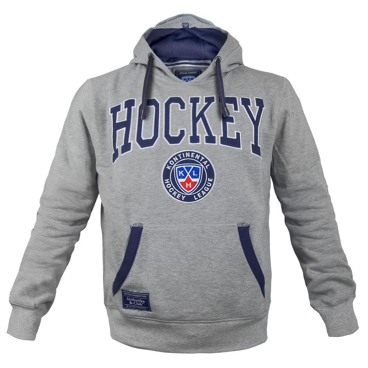 Толстовка мужская КХЛ, цвет: серый. 262870. Размер L (52) - Хоккейные клубы