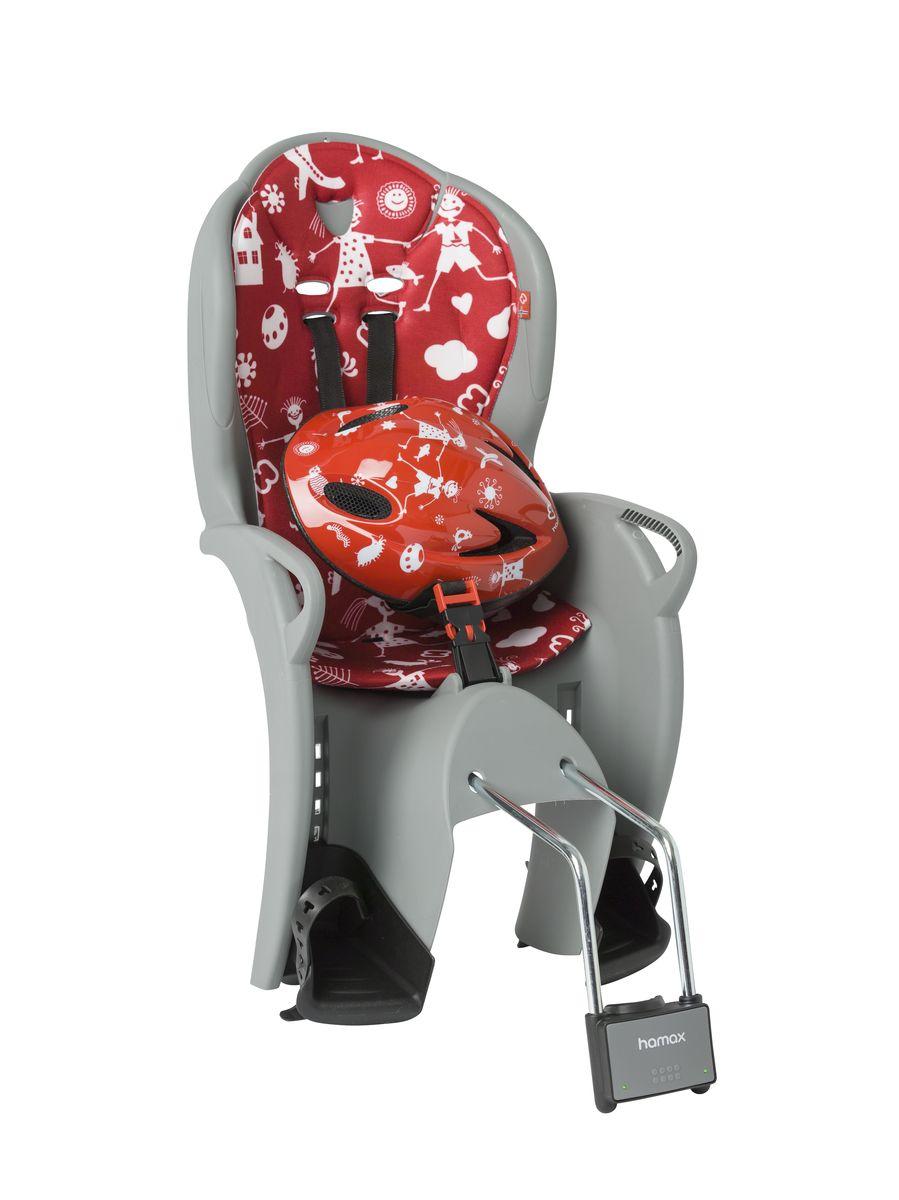 Детское кресло Hamax Kiss Safety Package, цвет: серый, красный551058Рисунок на шлеме имеет такой же дизайн, как амортизирующая подушка на сиденье.Регулируемый ремень безопасности и подножки. Дополнительные мягкие пряжки для фиксации ребенка в кресле очень легкие и комфортные, но при этом обеспечивают надежную фиксацию ребенка в велокресле, позволяя при необходимости совершать резкие маневры и торможения. Эргономика велокресла рассчитана так что спинка кресла не будет мешать голове ребенка в моменты когда он хочет откинуться назад кресла в шлеме. Механизмы регулировки застежек позволяют комфортно отрегулировать их вместе с ростом ребенка. Переставляйте детское сиденье для велосипеда между двумя велосипедами. Детское сиденье для велосипеда очень легко крепится и освобождается от велосипеда. Приобретая дополнительный кронштейн, вы можете легко переставлять детское сиденье с одного велосипеда на другой. Hamax рекомендует, что ребенок должен всегда носить шлем при использовании детского сиденья. Особенности модели:- Проработанная эргономика кресла для максимально комфортной посадки- Специальная конструкция пряжек ремней безопасности/фиксации для предотвращения саморастегивания ребенка- Простое в использование, полностью соответствующее всем Европейским стандартам безопасности- Возможность установить на любом велосипеде как с багажником, так и без- Предназначено для детей в возрасте старше 9 месяцев и весом до 22 кг- Регулируемый ремень безопасности и подножки- Детское велосиденье благодаря удобному и надежному замку фиксации легко ставиться и снимается с велосипеда- Несущие дуги крепления велокресла обеспечивает отличную амортизацию- Подходит для подседельных труб рамы велосипеда диаметром от 28 до 40 мм (круглые и овальные) - Система крепления велокресла не мешает тросам переключения передачВелокресло сертифицировано по: TUV / GS EN14344