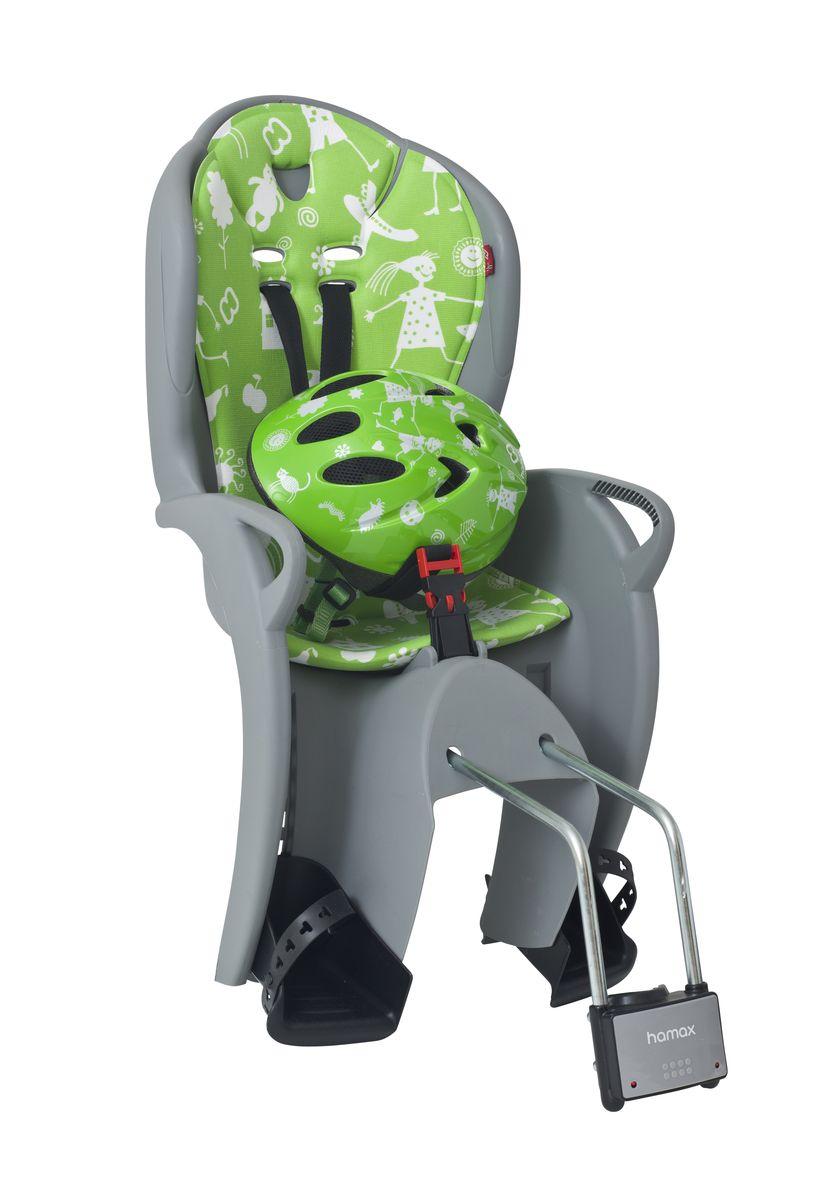 Детское кресло Hamax Kiss Safety Package, цвет: серый, зеленый551089Рисунок на шлеме имеет такой же дизайн, как амортизирующая подушка на сиденье.Регулируемый ремень безопасности и подножки.Дополнительные мягкие пряжки для фиксации ребенка в кресле очень легкие и комфортные, но при этом обеспечивают надежную фиксацию ребенка в велокресле, позволяя при необходимости совершать резкие маневры и торможения. Эргономика велокресла рассчитана так что спинка кресла не будет мешать голове ребенка в моменты когда он хочет откинуться назад кресла в шлеме.Механизмы регулировки застежек позволяют комфортно отрегулировать их вместе с ростом ребенка.Переставляйте детское сиденье для велосипеда между двумя велосипедамиДетское сиденье для велосипеда очень легко крепится и освобождается от велосипеда. Приобретая дополнительный кронштейн, вы можете легко переставлять детское сиденье с одного велосипеда на другой.Hamax рекомендует, что ребенок должен всегда носить шлем при использовании детского сиденья.Особенности модели:- Проработанная эргономика кресла для максимально комфортной посадки- Специальная конструкция пряжек ремней безопасности/фиксации для предотвращения саморастегивания ребенка- Простое в использование, полностью соответствующее всем Европейским стандартам безопасности- Возможность установить на любом велосипеде как с багажником, так и без- Предназначено для детей в возрасте старше 9 месяцев и весом до 22 кг- Регулируемый ремень безопасности и подножки- Детское велосиденье благодаря удобному и надежному замку фиксации легко ставиться и снимается с велосипеда- Несущие дуги крепления велокресла обеспечивает отличную амортизацию- Подходит для подседельных труб рамы велосипеда диаметром от 28 до 40 мм (круглые и овальные)- Система крепления велокресла не мешает тросам переключения передач- Размер шлема: S- Окружность шлема 50 смВелокресло сертифицировано по: TUV / GS EN14344