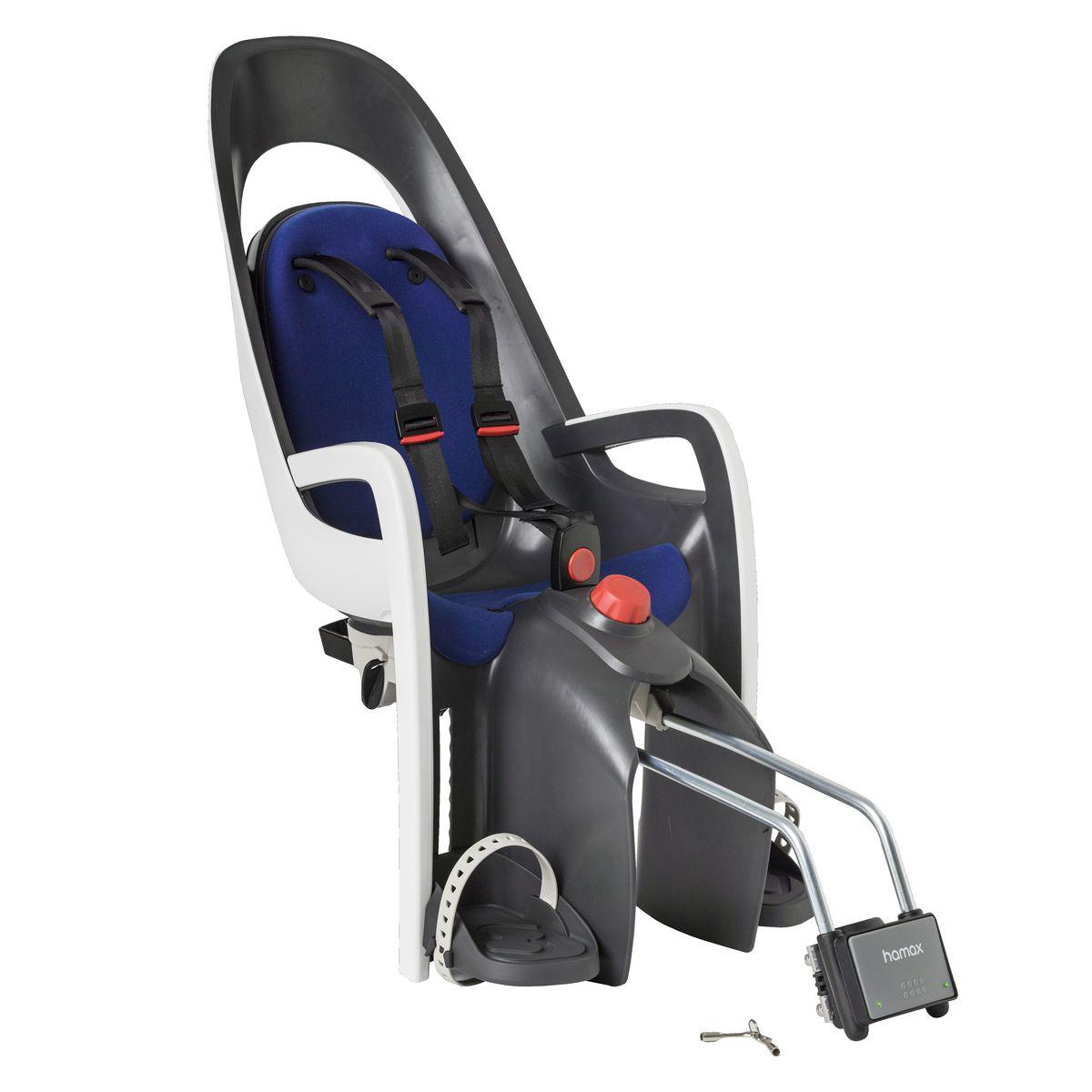 Детское кресло Hamax Caress W/Lockable Bracket, цвет: серый, белый, синий553002Отличительные особенности Hamax Zenith Relax от Hamax Zenith - это наличие регулировки угла наклона кресла в 20°.Дополнительные мягкие пряжки для фиксации ребенка в кресле очень легкие и комфортные, но при этом обеспечивают надежную фиксацию ребенка в велокресле, позволяя при необходимости совершать резкие маневры и торможения. Эргономика велокресла расчитанна так что спинка кресла не будет мешать голове ребенка в моменты когда он хочет откинуться назад кресла в шлеме. Механизмы регулировки застежек позволяют комфортно отрегулировать их вместе с ростом ребенка. Особенности модели: - Регулировка высоты велокресла- Запираемый кронштейн крепления- Проработанная эргономика кресла для максимально комфортной посадки- 3-точечные ремни безопасности с дополнительным кронштейном для фиксации в районе груди и обеспечения ребенку безопасной и удобной посадки- Специальная конструкция пряжек ремней безопасности/фиксации для предотвращения саморастегвания ребенка- Простое в использование, полностью соответствующее всем Европейским стандартам безопасности- Возможность установить на любом велосипеде как с багажником, так и без- Предназначенно для детей в возрасте старше 9 месяцев и весом до 22 кг- Регулируемый ремень безопасности и подножки- Регулировка подножек одной рукой- Встроенные отражатели для улучшения видимости кресла- Мягкие плечевые пряжки ремней- Детское велосиденье благодаря удобному и надежному замку фиксации легко ставиться и снимаеться с велосипеда- Несущие дуги крепления велокресла обеспечивает отличную амортизацию- Подходит для подседельных труб рамы велосипеда диаметром от 28 до 40 мм (круглые и овальные) - Система крепления велокресла не мешает тросам переключения передач