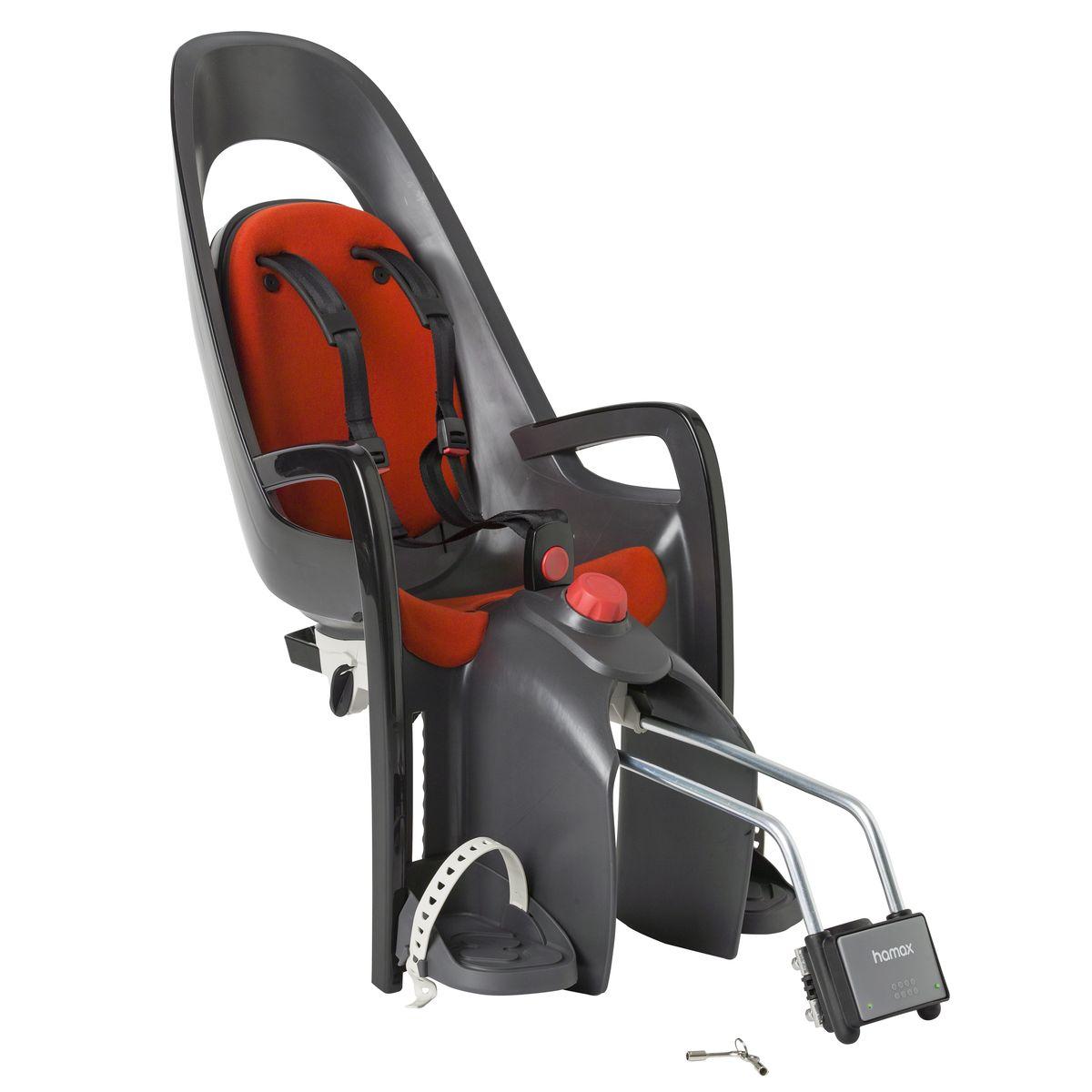 Детское кресло Hamax Caress W/Lockable Bracket, цвет: серый, красный553005Отличительные особенности Hamax Zenith Relax от Hamax Zenith - это наличие регулировки угла наклона кресла в 20°, регулируемая вверх-вниз спинка и замок фиксации кресла на велосипеде с ключом.Дополнительные мягкие пряжки для фиксации ребенка в кресле очень легкие и комфортные, но при этом обеспечивают надежную фиксацию ребенка в велокресле, позволяя при необходимости совершать резкие маневры и торможения. Эргономика велокресла расчитанна так что спинка кресла не будет мешать голове ребенка в моменты когда он хочет откинуться назад кресла в шлеме. Механизмы регулировки застежек позволяют комфортно отрегулировать их вместе с ростом ребенка. Особенности модели: - Регулировка высоты велокресла- Запираемый кронштейн крепления- Проработанная эргономика кресла для максимально комфортной посадки- 3-точечные ремни безопасности с дополнительным кронштейном для фиксации в районе груди и обеспечения ребенку безопасной и удобной посадки- Специальная конструкция пряжек ремней безопасности/фиксации для предотвращения саморастегвания ребенка- Простое в использование, полностью соответствующее всем Европейским стандартам безопасности- Возможность установить на любом велосипеде как с багажником, так и без- Предназначенно для детей в возрасте старше 9 месяцев и весом до 22 кг- Регулируемый ремень безопасности и подножки- Регулировка подножек одной рукой- Встроенные отражатели для улучшения видимости кресла- Мягкие плечевые пряжки ремней- Детское велосиденье благодаря удобному и надежному замку фиксации легко ставиться и снимаеться с велосипеда- Несущие дуги крепления велокресла обеспечивает отличную амортизацию- Подходит для подседельных труб рамы велосипеда диаметром от 28 до 40 мм (круглые и овальные) - Система крепления велокресла не мешает тросам переключения передачГид по велоаксессуарам. Статья OZON Гид