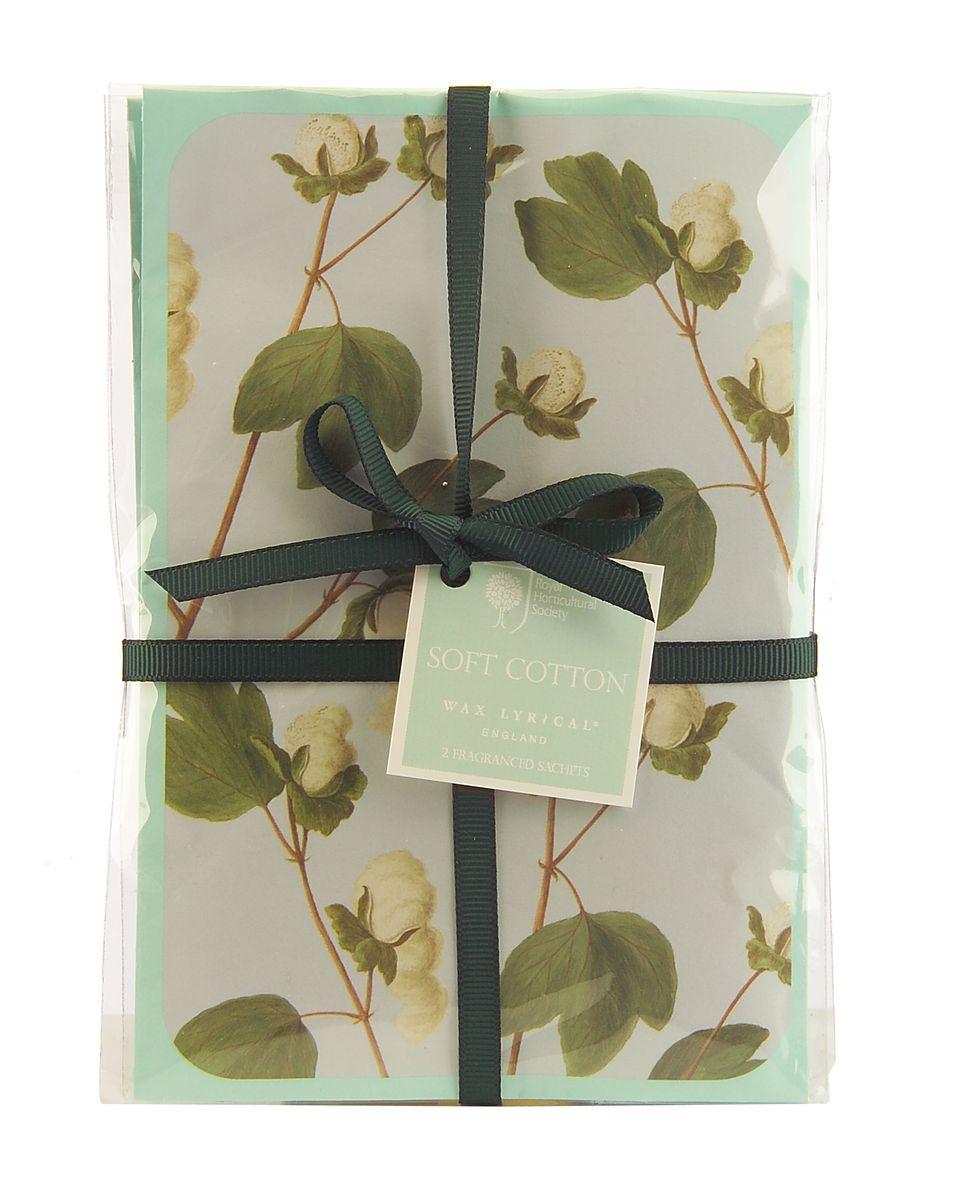 """Набор ароматических саше Wax Lyrical """"Цветущий хлопок"""" имеет деликатный цветочный аромат фиалки, лилии, розы и цветов мягкого хлопка на основе мускуса. В комплект входят 2 саше."""