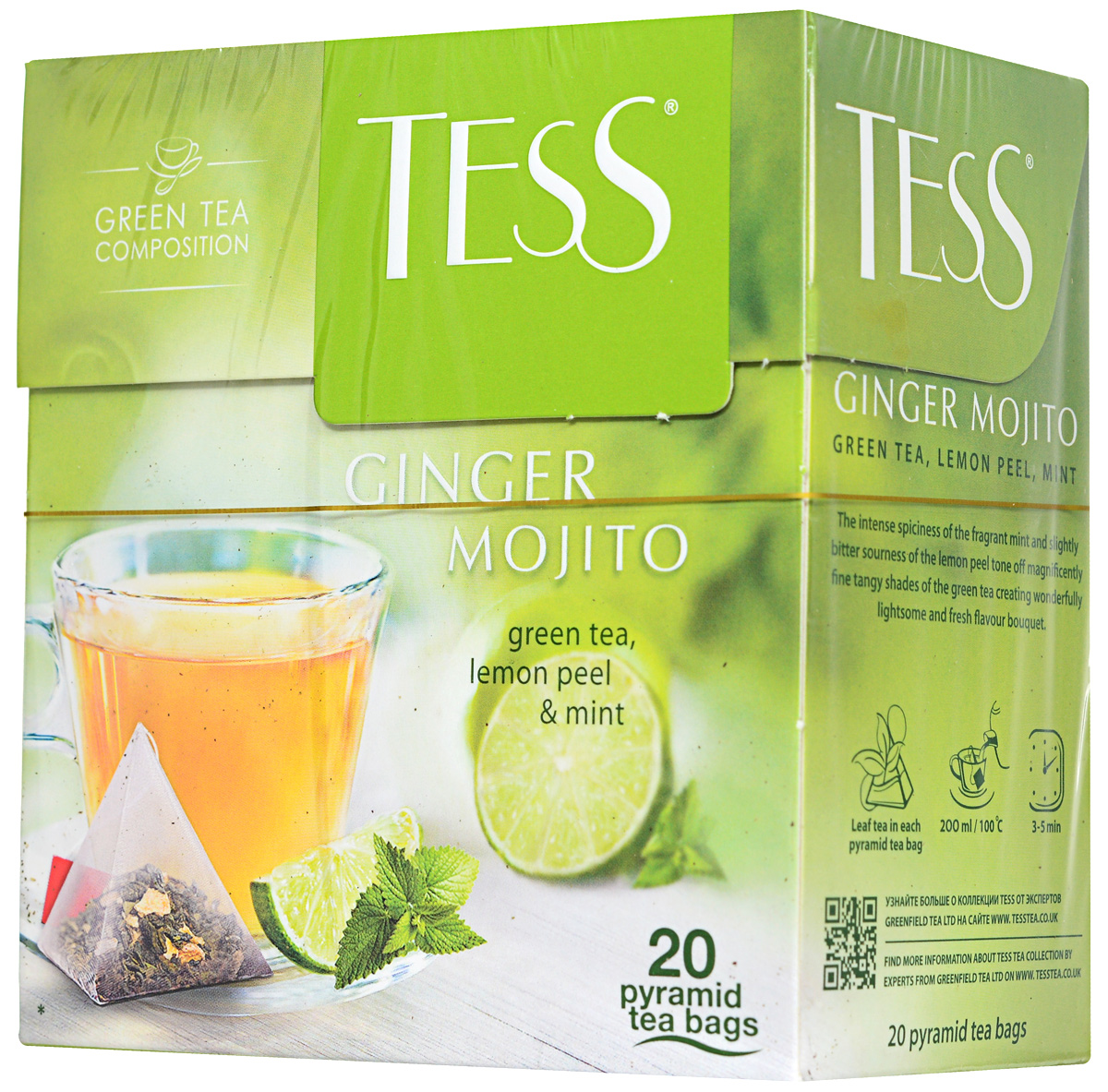 Tess Ginger Mojito зеленый чай в пирамидках с цедрой лимона и мятой, 20 шт0788-12Насыщенная пряность душистой мяты и горьковатая кислинка лимонной цедры в Tess Ginger Mojito великолепно оттеняют тонкие терпкие ноты зеленого чая, создавая удивительно легкий и свежий вкусовой букет.