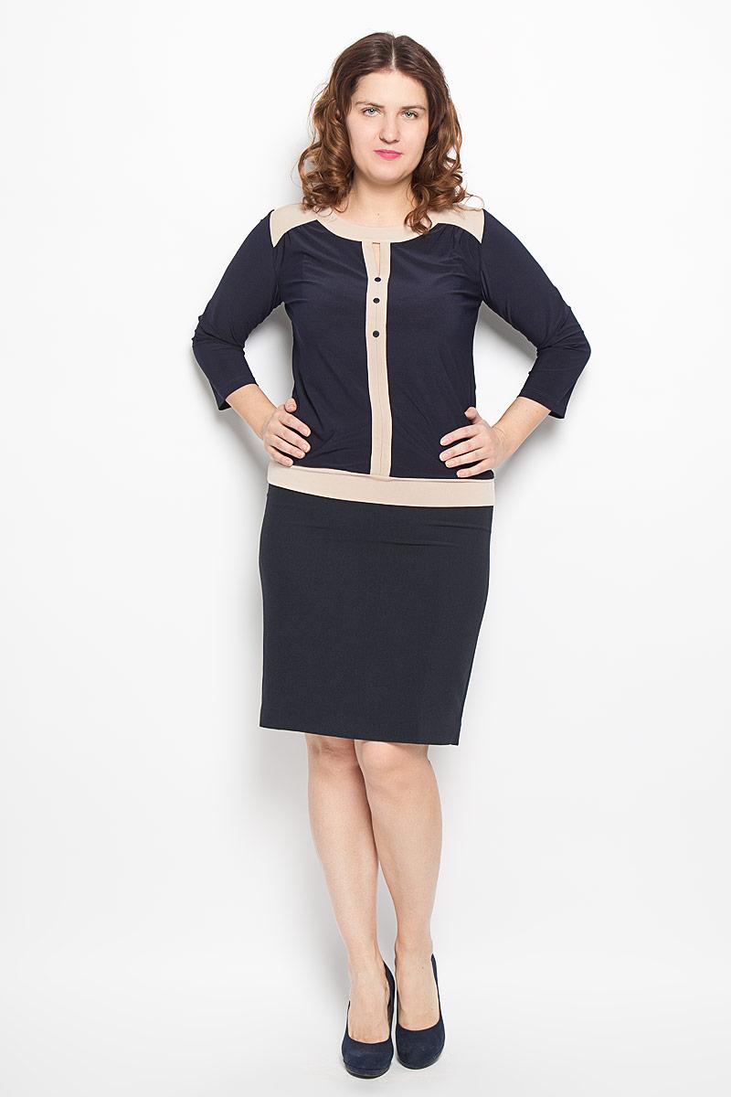 Блузка женская Milana Style, цвет: темно-синий, бежевый. 1541-693м. Размер 501541-693мСтильная блузка Milana Style, изготовленная из синтетического материала ПАН с добавлением эластана, подчеркнет ваш уникальный стиль. Материал легкий, мягкий и приятный на ощупь, не сковывает движения и хорошо вентилируется. Блузка с круглым вырезом горловины и рукавами 3/4 оформлена декоративной планкой с пуговицами по всей длине. Низ изделия обработан широкой трикотажной манжетой. Модель дополнена вставками контрастного цвета. Такая блузка будет дарить вам комфорт в течение всего дня и послужит замечательным дополнением к гардеробу.