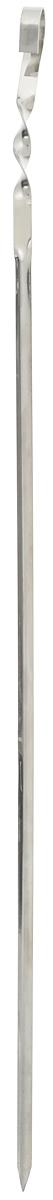 Шампур угловой RoyalGrill, длина 62 см80-067Угловой шампур RoyalGrill, изготовленный из высококачественной нержавеющей стали, предназначен для приготовления пищи из мяса, рыбы, птицы, овощей на открытом воздухе. Во время вращения шампура нанизанная на него еда не будет переворачиваться. Ручка-винт фиксирует шампур на мангале.Толщина шампура: 1 мм.Ширина: 1 см.