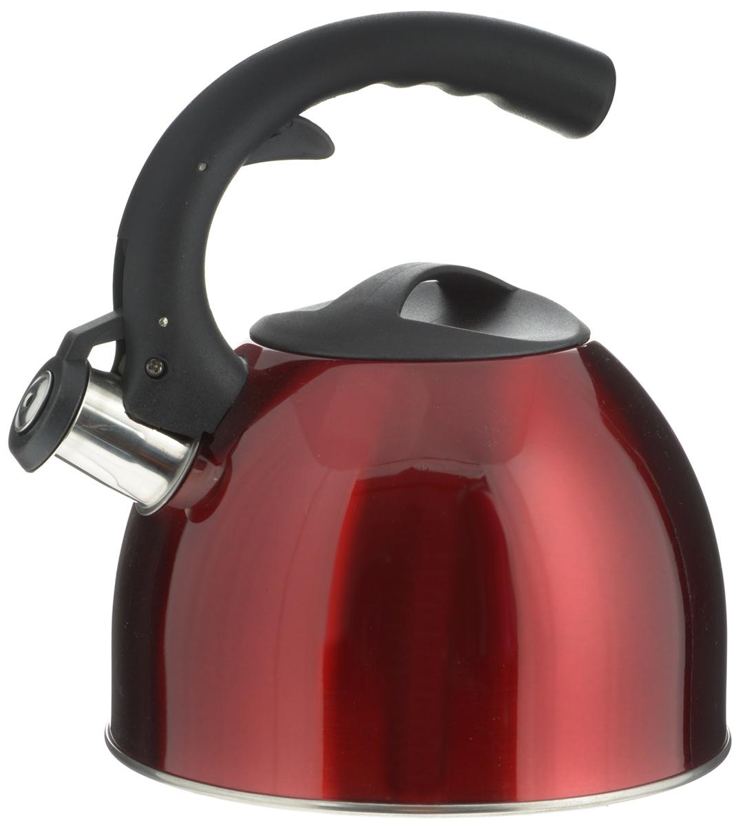 Чайник Mayer & Boch, со свистком, цвет: красный, 2,5 л. 2319723197_красныйЧайник Mayer & Boch изготовлен из высококачественной нержавеющей стали. Гладкая и ровная поверхность существенно облегчает уход. Чайник оснащен удобной нейлоновой ручкой, которая не нагревается даже при продолжительном периоде нагрева воды. Носик чайника имеет насадку-свисток, что позволит вам контролировать процесс подогрева или кипячения воды. Выполненный из качественных материалов, чайник Mayer & Boch при кипячении сохраняет все полезные свойства воды. Чайник пригоден для использования на всех типах плит, кроме индукционных. Можно мыть в посудомоечной машине. Высота чайника (без учета ручек): 12 см.Высота чайника (с учетом ручки): 22,5 см.