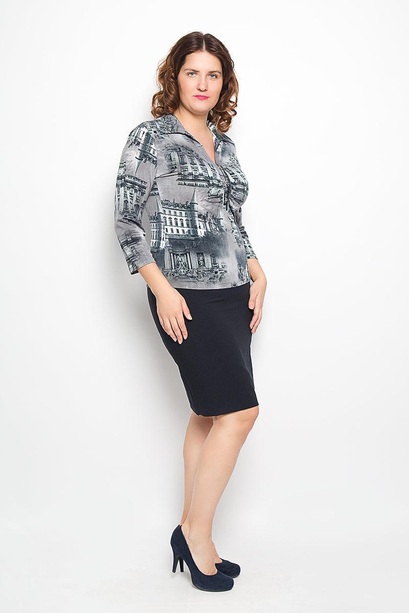 Блуза женская Milana Style, цвет: серый, темно-серый. 233-693м. Размер 50233-693мСтильная женская блуза Milana Style, выполненная из синтетического материала ПАН с добавлением эластана, подчеркнет ваш уникальный стиль и поможет создать оригинальный женственный образ. Модель с рукавами 3/4 и V-образным вырезом горловины оформлена декоративной планкой с пуговицами.Такая блуза займет достойное место в вашем гардеробе.