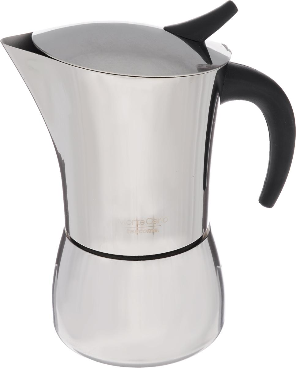 Кофеварка гейзерная Tescoma Monte Carlo, на 6 чашек647106Компактная гейзерная кофеварка Tescoma Monte Carlo изготовлена из высококачественной нержавеющей стали. Объема кофе хватает на 6 чашек. Изделие оснащено удобной ручкой из пластика.Принцип работы такой гейзерной кофеварки - кофе заваривается путем многократного прохождения горячей воды или пара через слой молотого кофе. Удобство кофеварки в том, что вся кофейная гуща остается во внутренней емкости. Гейзерные кофеварки пользуются большой популярностью благодаря изысканному аромату. Кофе получается крепкий и насыщенный. Подходит для газовых, электрических, стеклокерамических и индукционных плит. Нельзя мыть в посудомоечной машине. Высота (с учетом крышки): 19 см.Диаметр (по верхнему краю): 10 см.