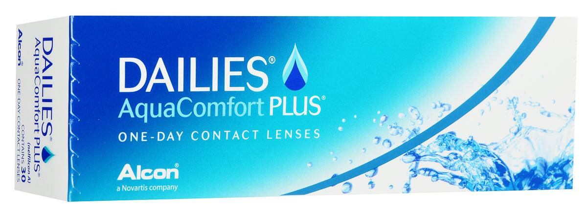 Alcon-CIBA Vision контактные линзы Dailies AquaComfort Plus (30шт / 8.7 / 14.0 / -1.25)BB-GF48Dailies AquaComfort Plus - это одни из самых популярных однодневных линз производства компании Ciba Vision. Эти линзы пользуются огромной популярностью во всем мире и являются на сегодняшний день самыми безопасными контактными линзами. Изготавливаются линзы из современного, 100% безопасного материала нелфилкон А. Особенность этого материала в том, что он легко пропускает воздух и хорошо сохраняет влагу. Однодневные контактные линзы Dailies AquaComfort Plus не нуждаются в дополнительном уходе и затратах, каждый день вы надеваете свежую пару линз. Дизайн линзы биосовместимый, что гарантирует безупречный комфорт. Самое главное достоинство Dailies AquaComfort Plus - это их уникальная система увлажнения. Благодаря этой разработке линзы увлажняются тремя различными агентами. Первый компонент, ухаживающий за линзами, находится в растворе, он как бы обволакивает линзу, обеспечивая чрезвычайно комфортное надевание. Второй агент выделяется на протяжении всего дня, он непрерывно смачивает линзы. Третий - увлажняющий агент, выделяется во время моргания, благодаря ему поддерживается постоянный комфорт. Также линзы имеют УФ-фильтр, который будет заботиться о ваших глазах. Dailies AquaComfort Plus одни из лучших линз в своей категории. Всемирно известная компания Ciba Vision, создавая эти контактные линзы, попыталась учесть все потребности пациентов и ей это удалось! Характеристики:Материал: нелфилкон А. Кривизна: 8.7. Оптическая сила: - 1.25. Содержание воды: 69%. Диаметр: 14 мм. Количество линз: 30 шт. Размер упаковки: 15,5 см х 5 см х 3 см. Производитель: США. Товар сертифицирован.Контактные линзы или очки: советы офтальмологов. Статья OZON Гид