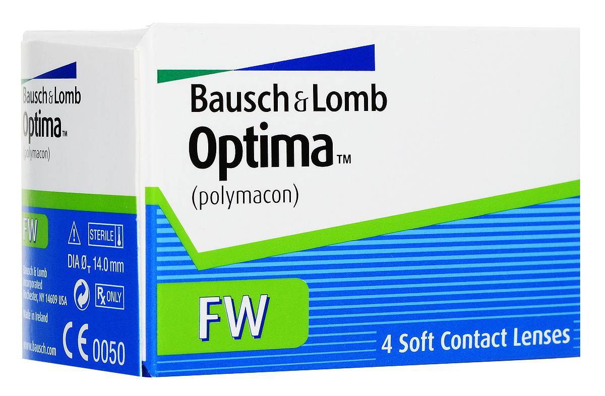 Bausch + Lomb контактные линзы Optima FW (4шт / 8.4 / -4.00)06655Контактные линзы Optima FW производства компании Bausch&Lomb выпускаются уже долгое время и на сегодня являются одними из самых популярных благодаря непревзойденному комфорту.Мягкие гидрогелевые линзы Optima FW изготавливаются из материала полимакон комбинированным способом. Особенность такого процесса заключается в том, что наружная поверхность линз формируется полимеризацией, а внутренняя производится точением. Благодаря этому линза имеет идеальную посадку и остается на глазу совершенно незамеченной.Толщина линзы Optima FW с оптической силой -3,00 составляет 0,035 мм в центре, что обеспечивает хорошее пропускание кислорода к роговице, как следствие - комфортность ношения линз. Плюсовые контактные линзы Optima FW значительно толще - 0,26 мм. Оптическая зона линз - 8 миллиметров.Контактные линзы Optima FW не меняют цвет глаз, но имеют тонировку, предназначенную для простоты операций снятия и надевания линз. Для облегчения манипуляций с линзами их снабжают индикатором инверсии (буквы BL).Замена через 3 месяца. Характеристики:Материал: полимакон. Кривизна: 8.4. Оптическая сила: - 4.00. Содержание воды: 38,6%. Диаметр: 14 мм. Количество линз: 4 шт. Размер упаковки: 7,5 см х 5 см х 4 см. Производитель: Ирландия. Товар сертифицирован.Контактные линзы или очки: советы офтальмологов. Статья OZON Гид