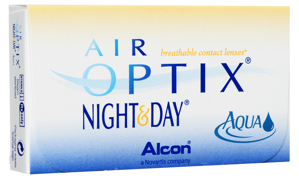Alcon-CIBA Vision контактные линзы Air Optix Night & Day Aqua (3шт / 8.6 / -2.25)44395Само название линз Air Optix Night & Day Aqua говорит само за себя - это возможность использования одной пары линз 24 часа в сутки на протяжении целого месяца! Это уникальные линзы от мирового производителя Сiba Vision, не имеющие аналогов. Их неоспоримым преимуществом является отсутствие необходимости очищения и ухода за линзами. Линзы рассчитаны на непрерывный график ношения. Изготовлены из современного биосовместимого материала лотрафилкон А, который имеет очень высокий коэффициент пропускания кислорода, обеспечивая его доступ даже во время сна. Наивысшее пропускание кислорода! Кислородопроницаемость контактных линз Air Optix Night & Day Aqua - 175 Dk/t. Это более чем в 6 раз больше, чем у ближайших конкурентов. Еще одно отличие линз Air Optix Night & Day Aqua - их асферический дизайн. Множественные клинические исследования доказали, что поверхность линз устраняет асферические аберрации, что позволяет вам видеть более четко и повышает остроту зрения. Ежемесячные контактные линзы Air Optix Night & Day Aqua характеризуются низким содержанием воды. Именно это позволяет снизить до минимума дегидродацию. В конце дня у вас не возникнет ощущения сухости глаз или дискомфорта. С ними вы сможете наслаждаться жизнью. Контактные линзы Air Optix Night & Day Aqua смогли доказать, что непрерывное ношение линз - это безопасный и удобный метод коррекции зрения! Замена через 1 месяц.Характеристики:Материал: лотрафилкон А. Кривизна: 8.6. Оптическая сила: - 2.25. Содержание воды: 24%. Диаметр: 13,8 мм. Количество линз: 3 шт. Размер упаковки: 9 см х 5 см х 1 см. Производитель: США. Товар сертифицирован.Контактные линзы или очки: советы офтальмологов. Статья OZON Гид