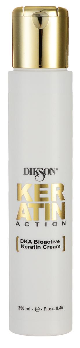 Dikson Keratin Action DKA Биоактивный Кератиновый крем ДОМ BioActive Keratin Cream №4 250 мл555Dikson Keratin Action DKA BioActive Keratin Cream №4 Биоактивный Кератиновый крем ДОМ создан на основе инновационной формулы Dikson DKA, которая является настоящим прорывом в сфере восстановления волос и ухода за ними. Данная формула обеспечивает 100% гарантию успеха и работает следующим образом молекулы кератина, которые, по сути, являются «жидкими волосами (волосы на 88% состоят именно из кератина) глубоко проникают в кутикулу каждого волоса, осуществляя его восстановление и укрепление от негативных воздействий внешних факторов. При регулярном применении биоактивного кератинового крема от компании Диксон волосы становятся здоровыми и сильными, приобретают отличный блеск и красоту.Кератиновый биоактивный крем обеспечивает интенсивное и полноценное питание волос и подходит для восстановления волос любого типа, в том числе, для мелированных, окрашенных и химически выпрямленных.