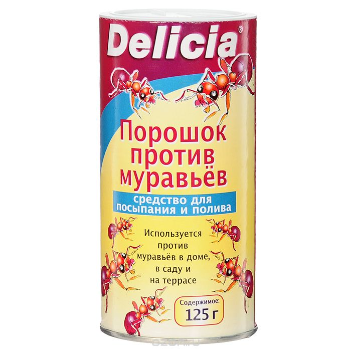 Порошок против муравьев Delicia, 125 г0715-758Порошок Delicia используется против муравьев в доме, саду и на террасе. Средство может применяться как для посыпания, так и для полива. Муравьи переносят порошок в свое гнездо, где он поедается муравьиной королевой и подрастающим потомством. Коме того, порошок обладает контактным действием.Действующее вещество: 10 г/кг хлорпирифос. Противоядие: атропин + токсогонин (при врачебном контроле).Вес: 30 г.Товар сертифицирован.