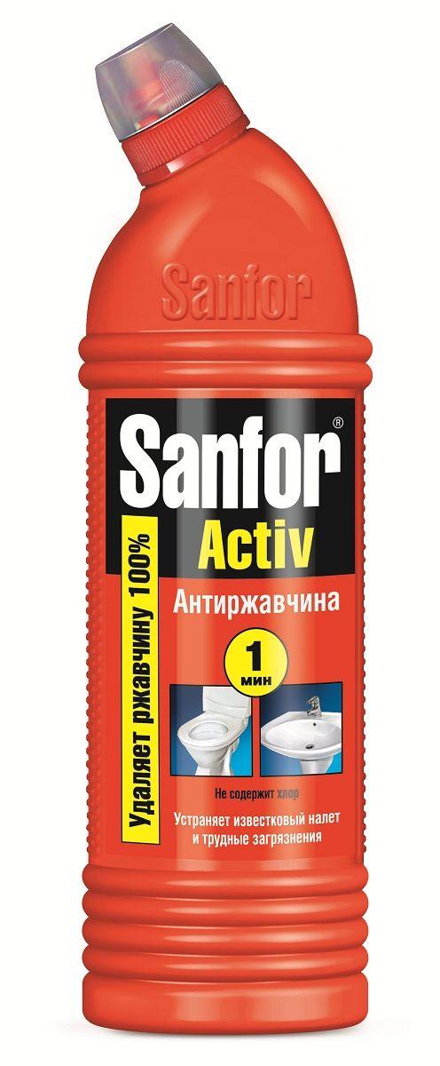 """Средство санитарно-гигиеническое """"Sanfor"""" - интенсивный очиститель ржавчины и самых трудных загрязнений с антимикробным действием. Быстро растворяет водный и мочевой камень, препятствует его образованию в унитазах.  Для достижения результата достаточно 1 мин. Благодаря загущенной формуле равномерно распределяется и не стекает с наклонных поверхностей, обеспечивает свежий запах. Убивает микробы за 1 минуту.  Не содержит хлор, при этом специальная формула гарантирует хорошие чистящие и дезинфицирующие свойства. Обладает антимикробными свойствами.   Способ применения: унитазы, душ, краны - нанести средство, при необходимости выдержать 5-10 мин, почистить с помощью щётки и смыть водой. Фаянсовые раковины, плитка - обработать средством загрязнённые поверхности с помощью щётки и через 1 минуту тщательно смыть водой.   Состав: > 15 %, но    Как выбрать качественную бытовую химию, безопасную для природы и людей. Статья OZON Гид"""