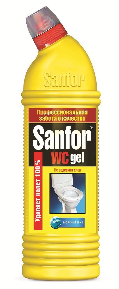 Средство для чистки и дезинфекции Sanfor WC Gel, морской бриз, 750 мл4602984002764Средство санитарно-гигиеническое идеально растворяет водный и мочевой камень и препятствует его образованию в унитазах, удаляет ржавчину и другие трудные загрязнения в туалете на длительное время. Можно использовать в ванной комнате и на кухне для удаления жировых пятен, плесени, мыльных потеков. Благодаря загущенной формуле равномерно распределяется и не стекает с наклонных поверхностей, обеспечивает свежий запах. Подходит для уборки и дезинфекции туалетов для животных. Убивает микробы за 5 минут. Не содержит ХЛОР, при этом специальная формула гарантирует хорошие чистящие и дезинфицирующие свойства. Обладает антимикробными свойствами. Способ применения: унитазы - нанести средство под ободок и распределить внутри унитаза, выдержать не более 10 мин, почистить и смыть водой. При необходимости обработку повторить. Фаянсовые раковины - обработать средством и смыть водой. Полы (плитка, линолеум), сантехническая арматура, пластмасса - мыть раствором 2-3 колпачка средства на 1 л воды.Состав: > 5 %, но < 15 %: АПАВ, кислота щавелевая; < 5 %: краситель, ароматизирующая добавка.