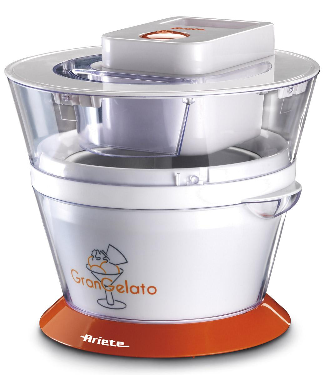 Ariete 638 Gran Gelato мороженица638Ariete 638 Gran Gelato — это удобная и компактная мороженица. В съемной чаше объемом 1 литр вы сможетеприготовить вкусное лакомство сразу для всей семьи.За счет съемных деталей Ariete 638 очень легко мыть, а эргономичный дизайн позволяет компактно хранитьприбор. Аппарат специально оборудован прозрачной крышкой для удобства контролирования процессаприготовления.Теперь у вас есть шанс приготовить вкусное мороженое меньше, чем за час. Все, что от вас потребуется, — этопоместить в мороженицу необходимые ингредиенты и после приготовления поместить мороженое в холодильникохладиться.