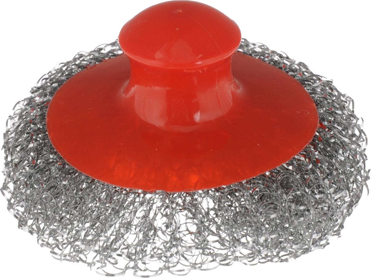 Мочалка для посуды Хозяюшка Мила, металлическая, с пластиковой ручкой, цвет: красный, стальной02015_красныйМеталлическая мочалка для посуды Хозяюшка Мила эффективно устраняет сильные загрязнения. Имеет долгий срок службы, не окисляется. Пластиковая ручка защищает руки от повреждений и обеспечивает комфорт при мытье. Прекрасно справляется с очисткой грилей, барбекю, решеток и других предметов для жарки. Не используйте для мытья посуды с антипригарным покрытием.