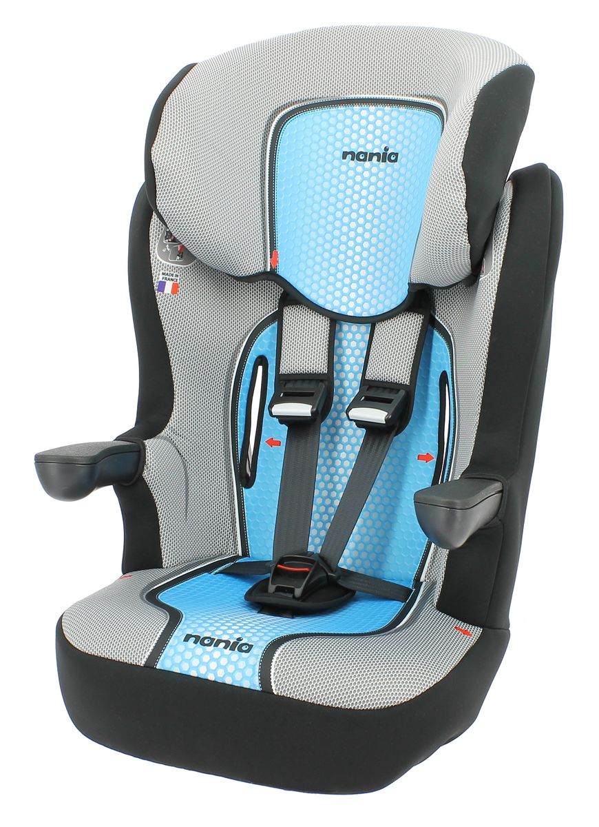 Nania Автокресло Imax SP First Pop Blue от 9 до 36 кг908608Автокресло Nania Imax SP группы 1-2-3 предназначено для детей весом от 9 до 36 кг (от 8 месяцев до 12 лет) и соответствует стандартам ECE R44/04. Высокий уровень безопасности достигнут благодаря цельному литому корпусу и продуманной конструкции автокресла. Это подтверждено краш-тестами, проведенными в собственной лаборатории производителя, компании TEAM TEX, которая традиционно уделяет первостепенное внимание безопасности маленького пассажира в автомобиле. Вся выпускаемая продукция Nania отвечает самым строгим Европейским стандартам соответствия и безопасности ECE R44/04, FMVSS 213, SABS 1340. Благодаря длительному периоду использования и регулируемому по высоте подголовнику Nania Imax SP охватывает все возрастные группы от 8 месяцев до 12 лет (когда кресло уже не нужно). Nania Imax SP было разработано на основе требований безопасности, а также ортопедических факторов: мягкие обивка и подушки, а также анатомическая форма Nania Imax SP обеспечивает комфорт даже в дальних поездках.Nania Imax SP имеет удобные подлокотники, которые при необходимости можно поднять вверх. Система боковой защиты Side Protection (SP) обеспечивает необходимую безопасность даже при боковом столкновении. Подголовник можно отрегулировать по высоте, таким образом автокресло оптимально адаптируется к росту ребенка.5-ти точечные ремни безопасности можно регулировать не только по длине и высоте, но и снять совсем, когда ребенок подрастет.Обивка выполнена из 100% полистирола, которую легко снимается и моется.Серия FIRST - базовая версия автокресла, имеет простой дизайн, но при этом гарантирует европейское качество и обеспечивает безопасность пассажира.Технические характеристики: Внешние размеры (Д х Ш х В): 45 см x 45 см x 72-88 смВнутренние размеры (Д х Ш): 32 см x 40 см. Высота спинки:64 см - 75 см. Вес: 4,7 кг. Монтаж в автомобиле: Задний диван или сиденье пассажира. Направление установка: по ходу движения. Класс: I-III, 9-36 кг. Система 