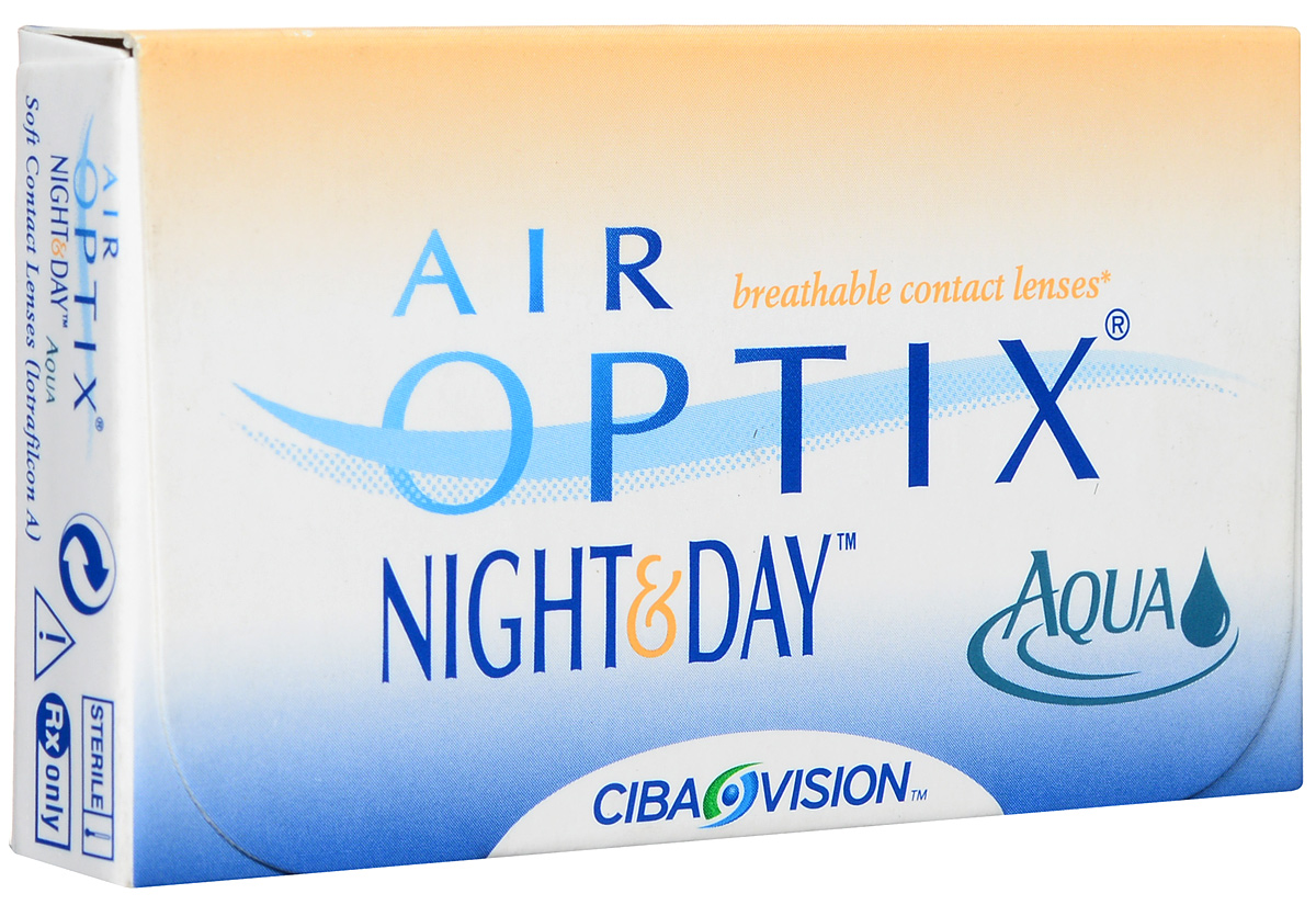 Alcon-CIBA Vision контактные линзы Air Optix Night & Day Aqua (3шт / 8.4 / -5.25)39509Само название линз Air Optix Night & Day Aqua говорит само за себя - это возможность использования одной пары линз 24 часа в сутки на протяжении целого месяца! Это уникальные линзы от мирового производителя Сiba Vision, не имеющие аналогов. Их неоспоримым преимуществом является отсутствие необходимости очищения и ухода за линзами. Линзы рассчитаны на непрерывный график ношения. Изготовлены из современного биосовместимого материала лотрафилкон А, который имеет очень высокий коэффициент пропускания кислорода, обеспечивая его доступ даже во время сна. Наивысшее пропускание кислорода! Кислородопроницаемость контактных линз Air Optix Night & Day Aqua - 175 Dk/t. Это более чем в 6 раз больше, чем у ближайших конкурентов. Еще одно отличие линз Air Optix Night & Day Aqua - их асферический дизайн. Множественные клинические исследования доказали, что поверхность линз устраняет асферические аберрации, что позволяет вам видеть более четко и повышает остроту зрения. Ежемесячные контактные линзы Air Optix Night & Day Aqua характеризуются низким содержанием воды. Именно это позволяет снизить до минимума дегидродацию. В конце дня у вас не возникнет ощущения сухости глаз или дискомфорта. С ними вы сможете наслаждаться жизнью. Контактные линзы Air Optix Night & Day Aqua смогли доказать, что непрерывное ношение линз - это безопасный и удобный метод коррекции зрения! Характеристики:Материал: лотрафилкон А. Кривизна: 8.4. Оптическая сила: - 5.25. Содержание воды: 24%. Диаметр: 13,8 мм. Количество линз: 3 шт. Размер упаковки: 9 см х 5 см х 1 см. Производитель: США. Товар сертифицирован.Контактные линзы или очки: советы офтальмологов. Статья OZON Гид