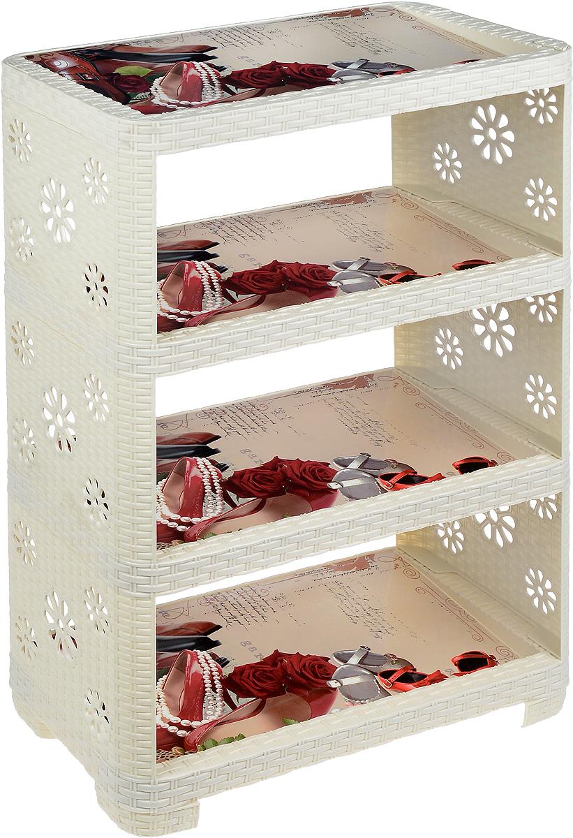 Этажерка Альтернатива Башмачки, 4-секционная, цвет: слоновая кость, 52 х 30 х 82,5 смМ2512Этажерка Башмачки с четырьмя полками изготовлена из высококачественного пластика с эффектом плетения. Полки оформлены красочным изображением обуви. Стенки украшены перфорацией в виде цветочков. Этажерка предназначена для хранения обуви. На каждой поле может поместиться по две пары обуви. Очень удобная и компактная, но в тоже время вместительная, этажерка прекрасно впишется в пространство вашей прихожей. Легко собирается и разбирается.Размер этажерки (ДхШхВ): 52 х 30 х 82,5 см. Размер полки (ДхШхВ): 52 х 30 х 3,7 см.