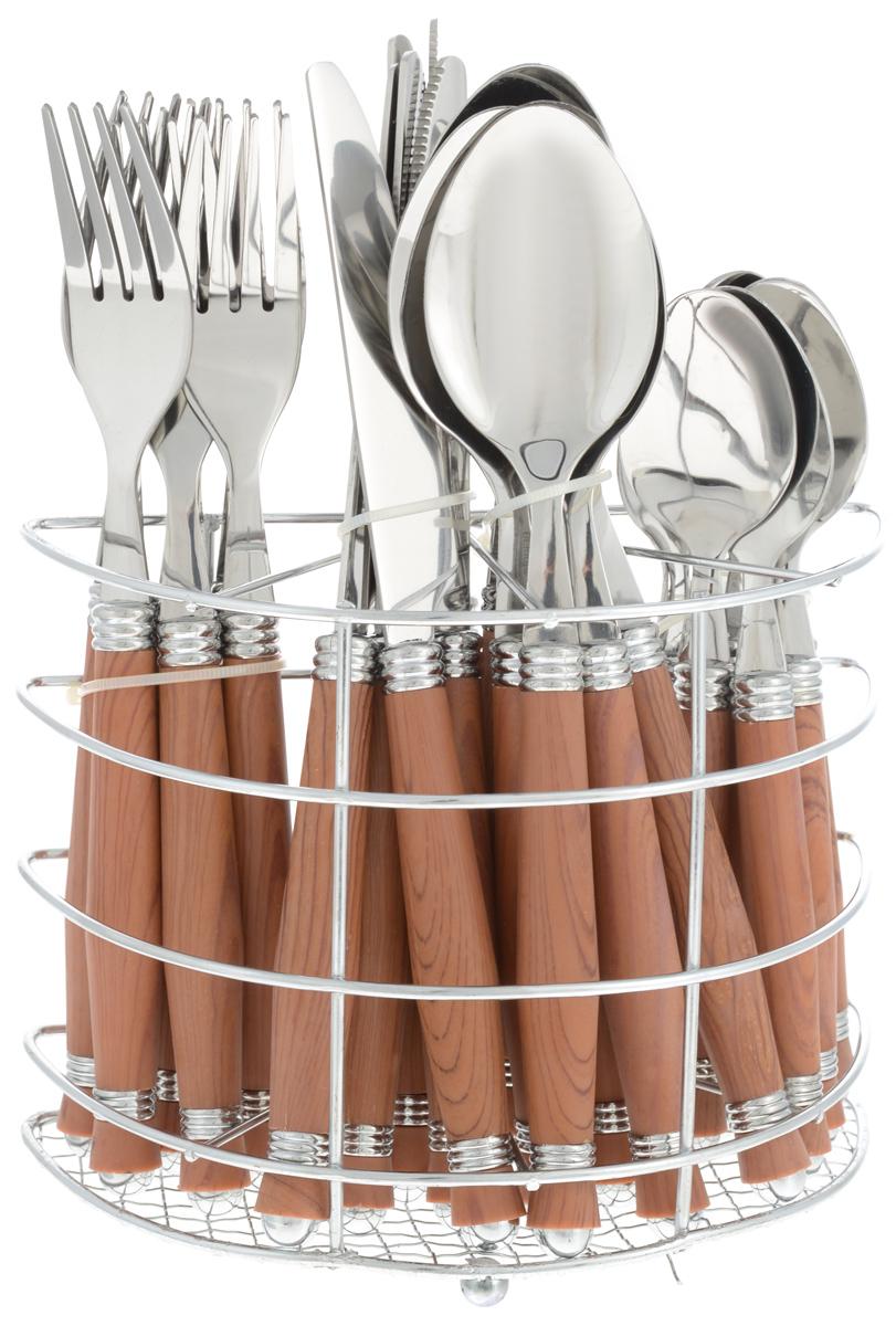 Набор столовых приборов Bekker, цвет: темно-коричневый, стальной. 25 предметов. BK-3305BK-3305_темно-коричневыйНабор столовых приборов Bekker выполнен из прочной полированной нержавеющей стали и высококачественного пластика. В набор входят 6 столовых ложек, 6 вилок, 6 чайных ложек и 6 ножей. Приборы имеют оригинальные удобные ручки с пластиковыми вставками под дерево. Прекрасное сочетание яркого дизайна и удобства использования предметов набора придется по душе каждому. Изделия расположены на металлической подставке, что удобно для хранения набора прямо на столе или столешнице. Набор столовых приборов Bekker подойдет как для ежедневного использования, так и для торжественных случаев.Можно мыть в посудомоечной машине.Длина ножа: 22,5 см. Длина столовой ложки: 21 см. Длина вилки: 20,5 см. Длина чайной ложки: 17,5 см. Размер подставки: 17 x 8,5 x 13,5 см.