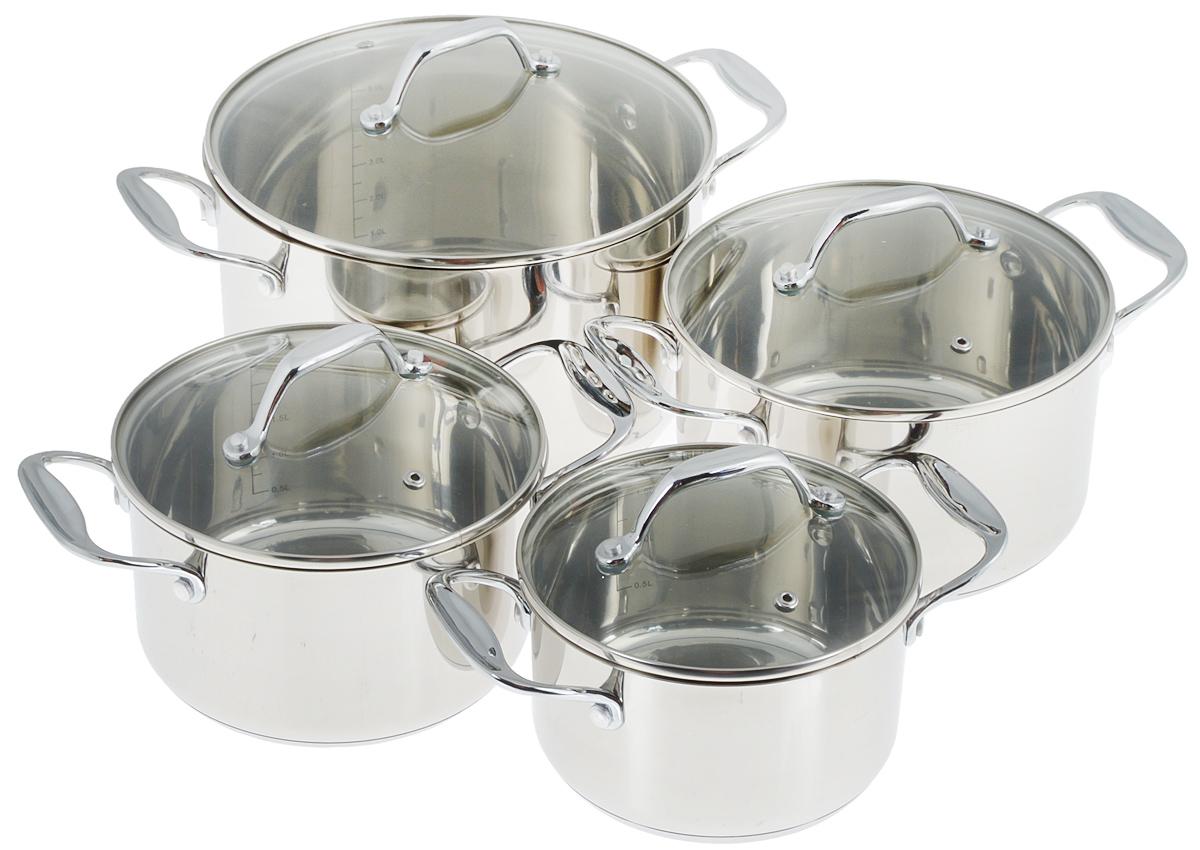 Набор кастрюль Добрыня с крышками, 8 предметов. DO-1705DO-1705Набор посуды Добрыня состоит из четырех кастрюль с крышками. Посуда изготовлена из высококачественной нержавеющей стали, с применением передовых технологий производства из высококлассных материалов, что гарантирует безупречный внешний вид, практичность и долговечность. Крышки выполнены из термостойкого стекла с отверстием для выпуска пара и ободком из нержавеющей стали. Кастрюли оснащены ручками. Изделия не окисляются, не подвергаются коррозии и устойчивы к царапинам.Эргономичный дизайн и функциональность набора Добрыня позволят вам наслаждаться процессом приготовления любимых блюд. Изделия подходят для использования на всех видах плит, включая индукционных. Можно мыть в посудомоечной машине.Диаметр кастрюль: 10 см; 18 см; 20 см; 24 см.Высота кастрюль: 9см; 10 см; 11 см; 14 см.Ширина кастрюль (с учетом ручек): 25,5 см; 27,5 см; 29,5 см; 34 см.Объем кастрюль: 1,8 л; 2,5 л; 3,4 л; 6,3 л. УВАЖАЕМЫЕ КЛИЕНТЫ! Обращаем ваше внимание на тот факт, что объем кастрюли указан максимальный, с учетом полного наполнения до кромки. Шкала на внутренней стенке кастрюли имеет меньший литраж.
